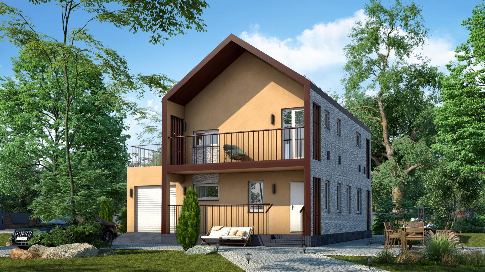 Передний фасад двухэтажного дома БЭНПАН, проект МС-195.