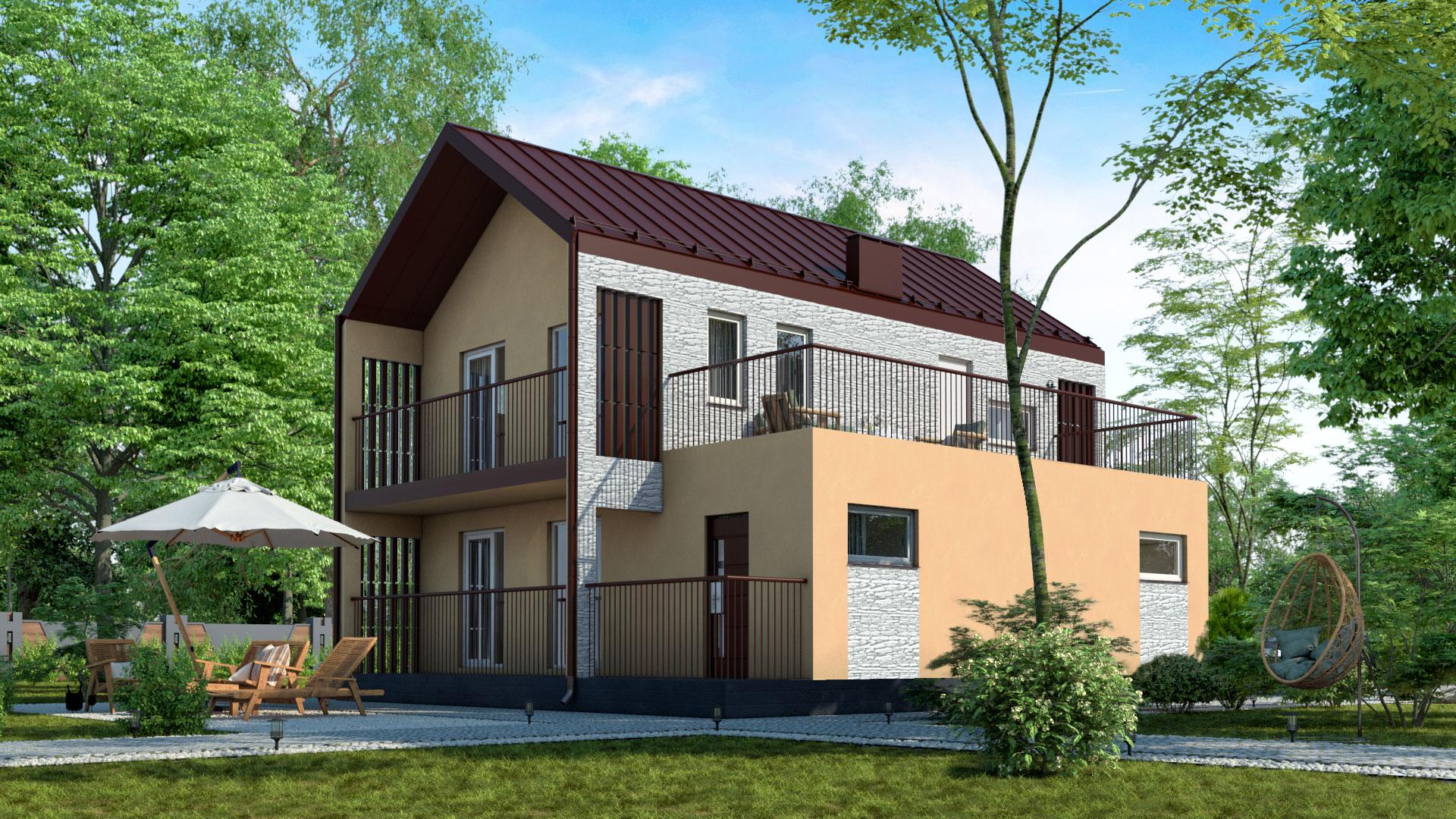 Боковой фасад двухэтажного дома БЭНПАН, проект МС-195.
