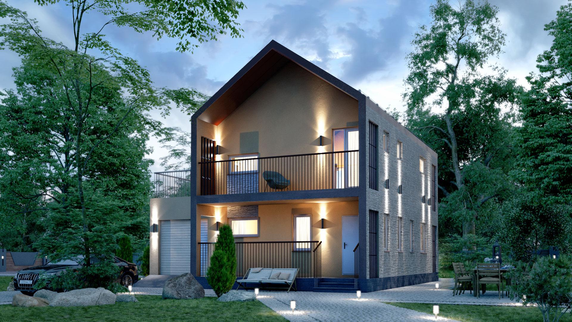 Вечернее фото двухэтажного дома БЭНПАН, проект МС-195.