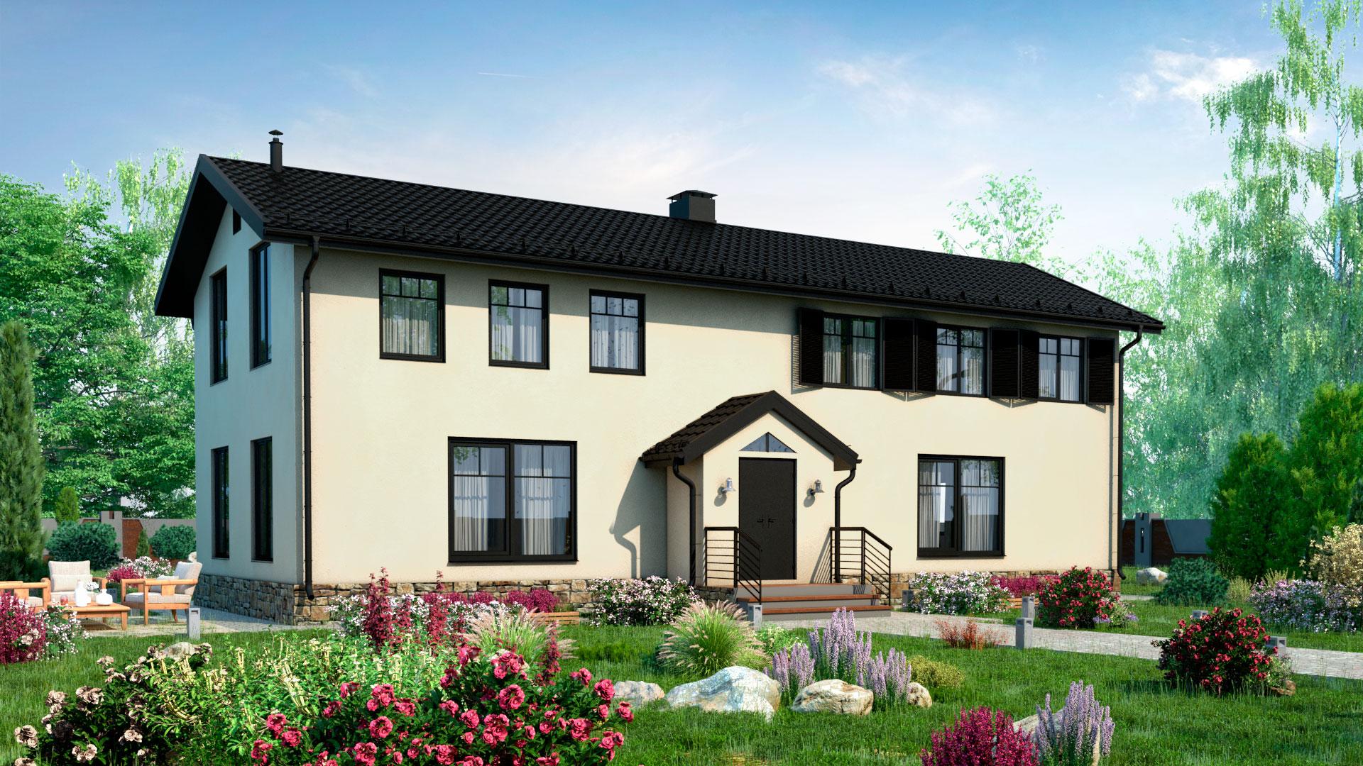 Передний фасад двухэтажного дома БЭНПАН, проект МС-200.
