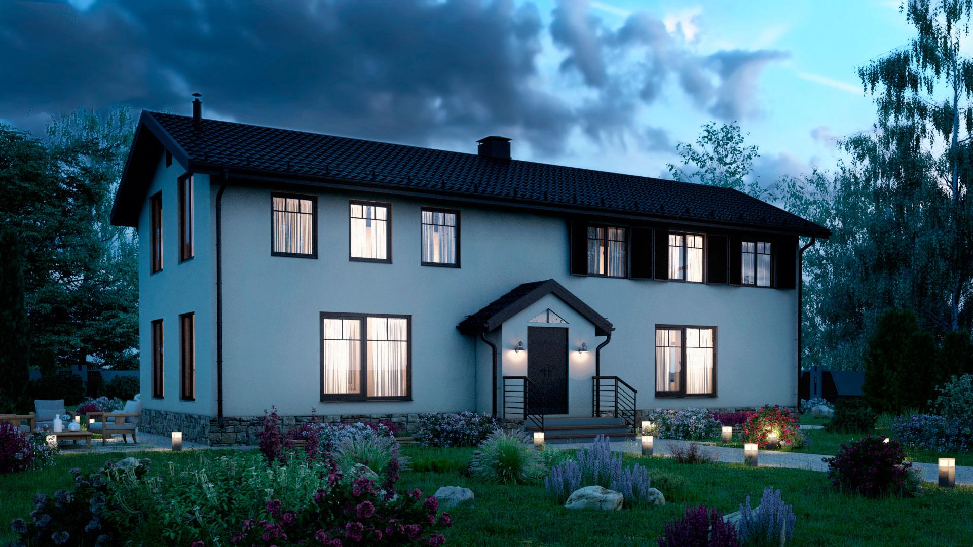 Вечернее фото двухэтажного дома БЭНПАН, проект МС-200.