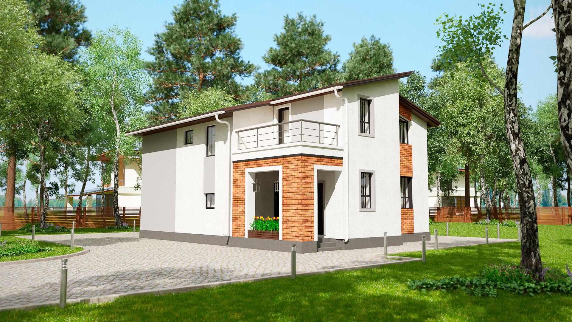 Передний и боковой фасады двухэтажного дома БЭНПАН, проект МС-202.