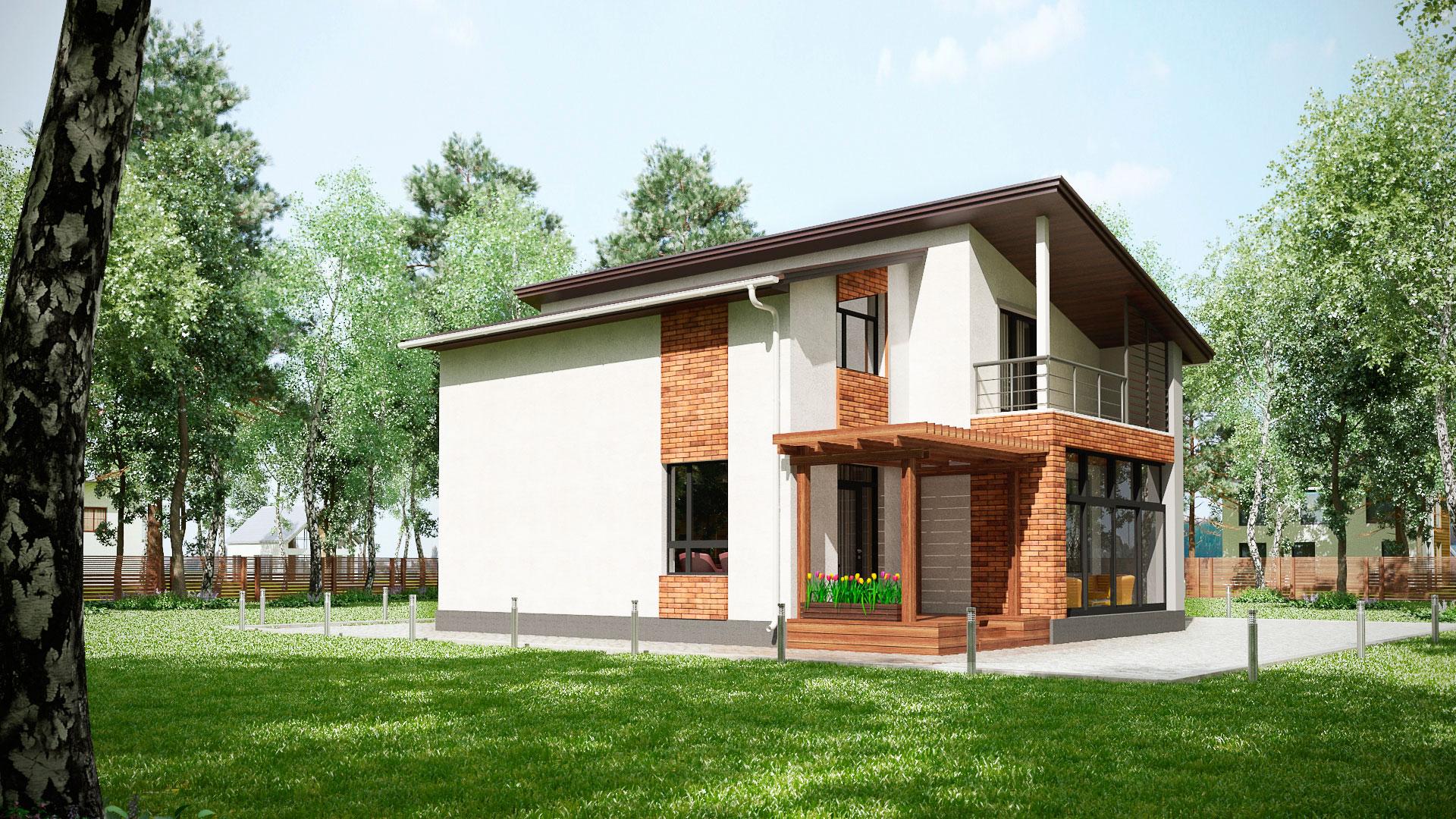 Боковой фасад двухэтажного дома БЭНПАН, проект МС-202.