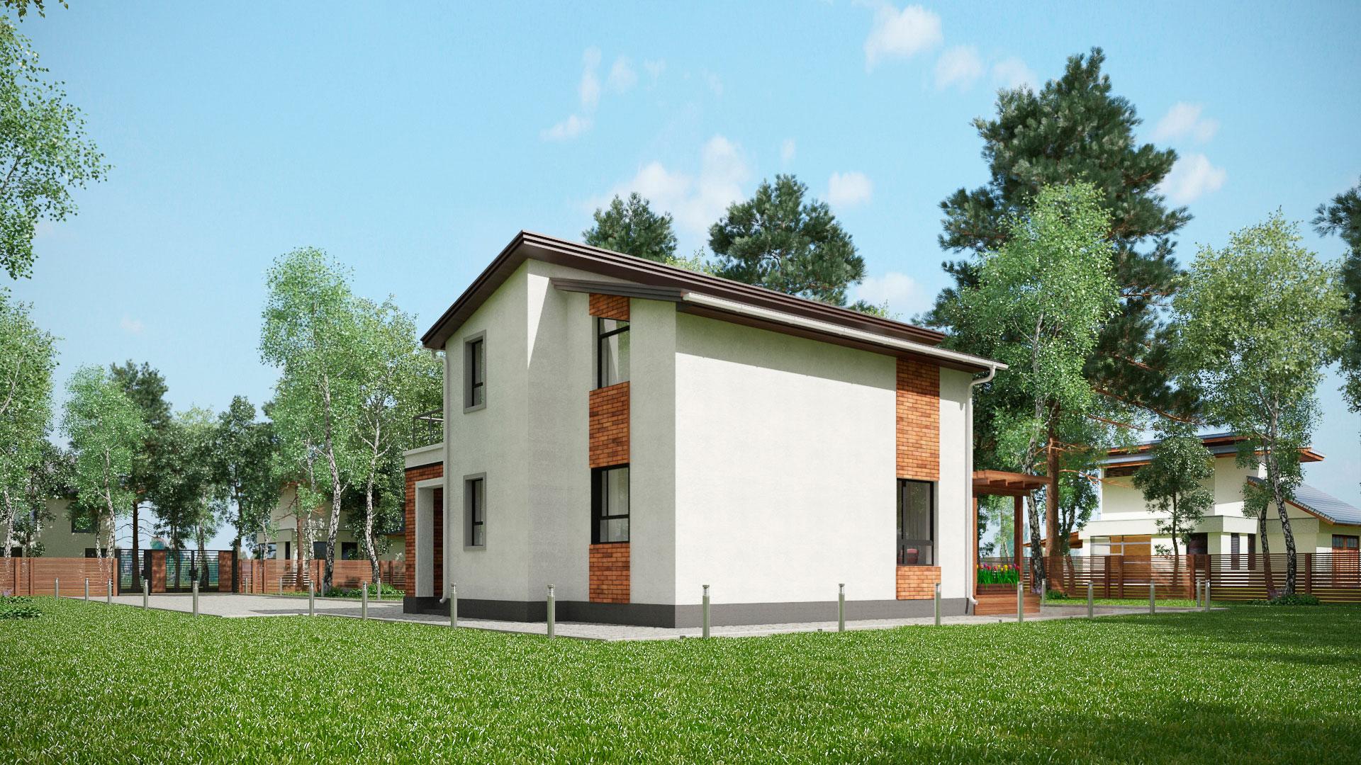 Задний и боковой фасады двухэтажного дома БЭНПАН, проект МС-202.