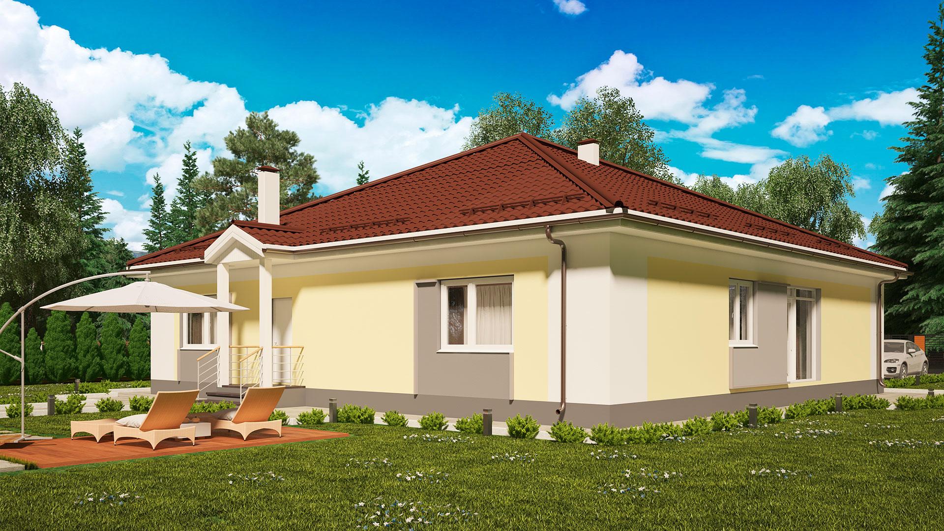 Задний и боковой фасады загородного дома 15 на 15 одноэтажного, проект БЭНПАН МС-213.