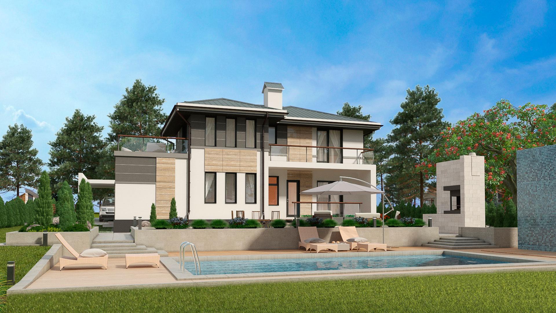 Задний фасад двухэтажного дома БЭНПАН, проект МС-224.