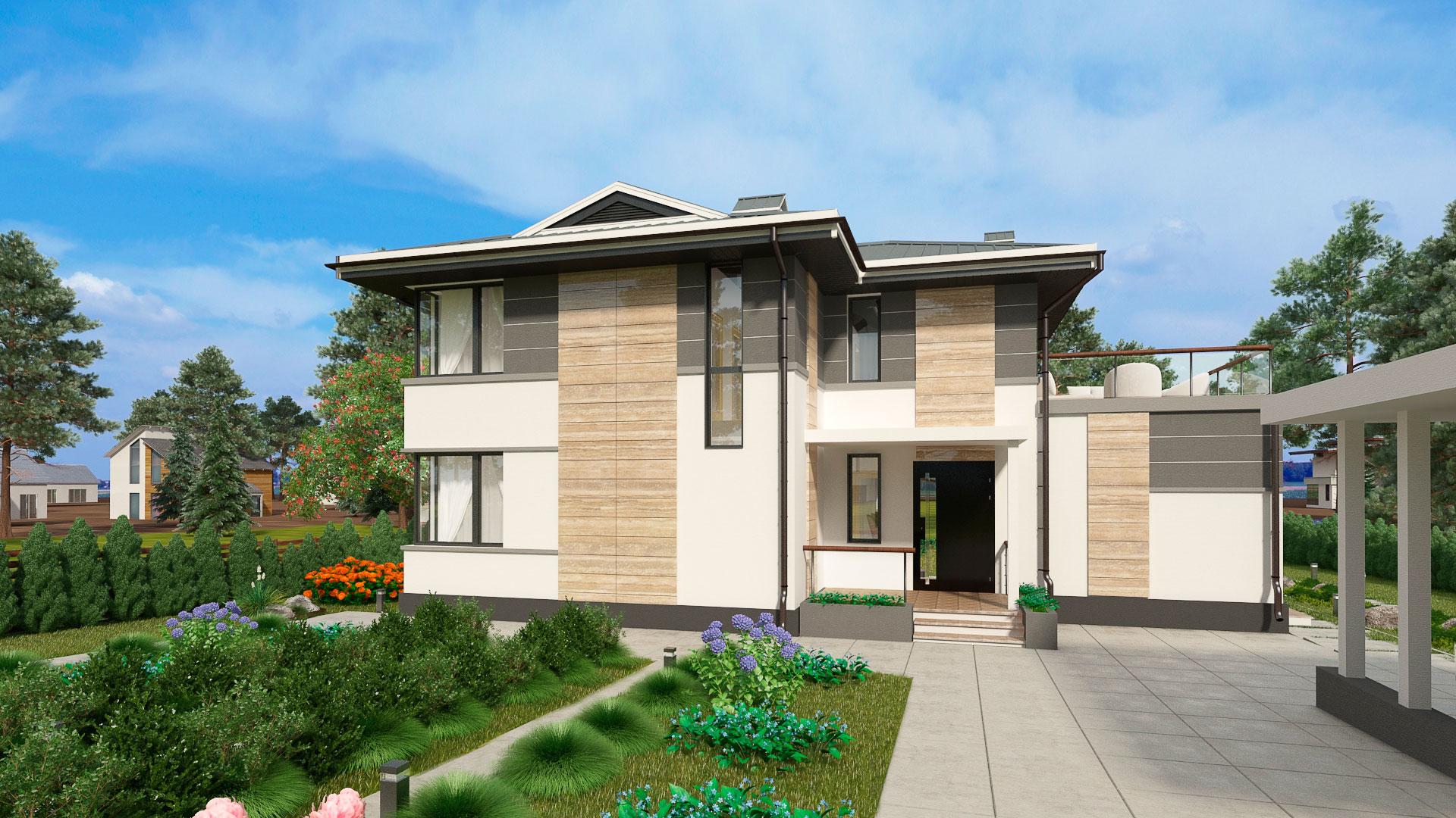 Передний фасад двухэтажного дома БЭНПАН, проект МС-224.