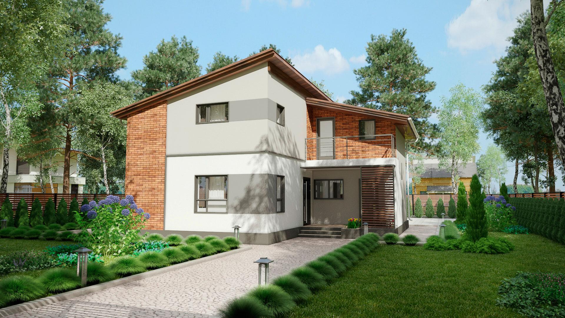 Передний фасад двухэтажного дома с террасой и балконом, проект БЭНПАН МС-238.