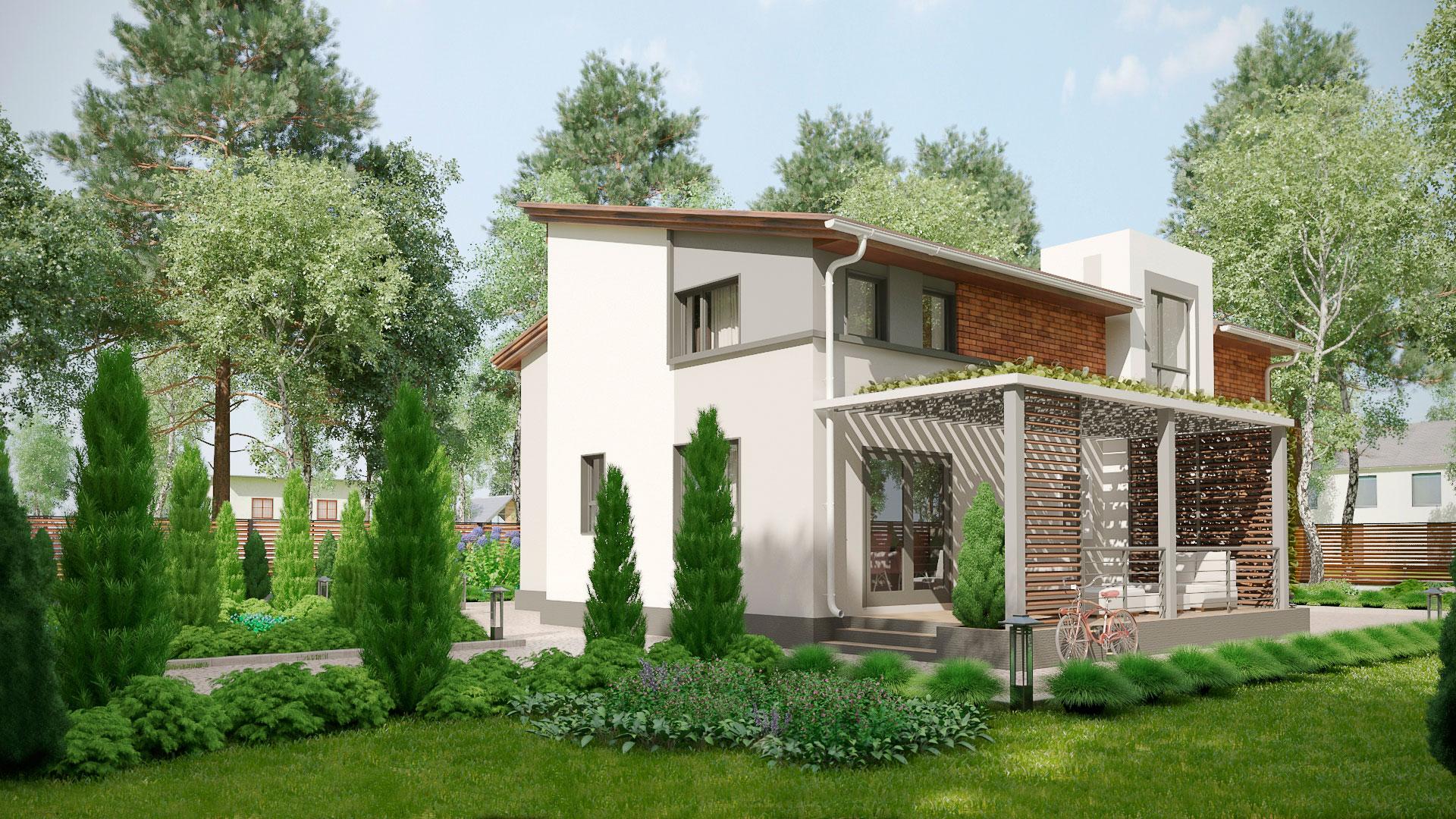 Боковой фасад двухэтажного дома с террасой и балконом, проект БЭНПАН МС-238.