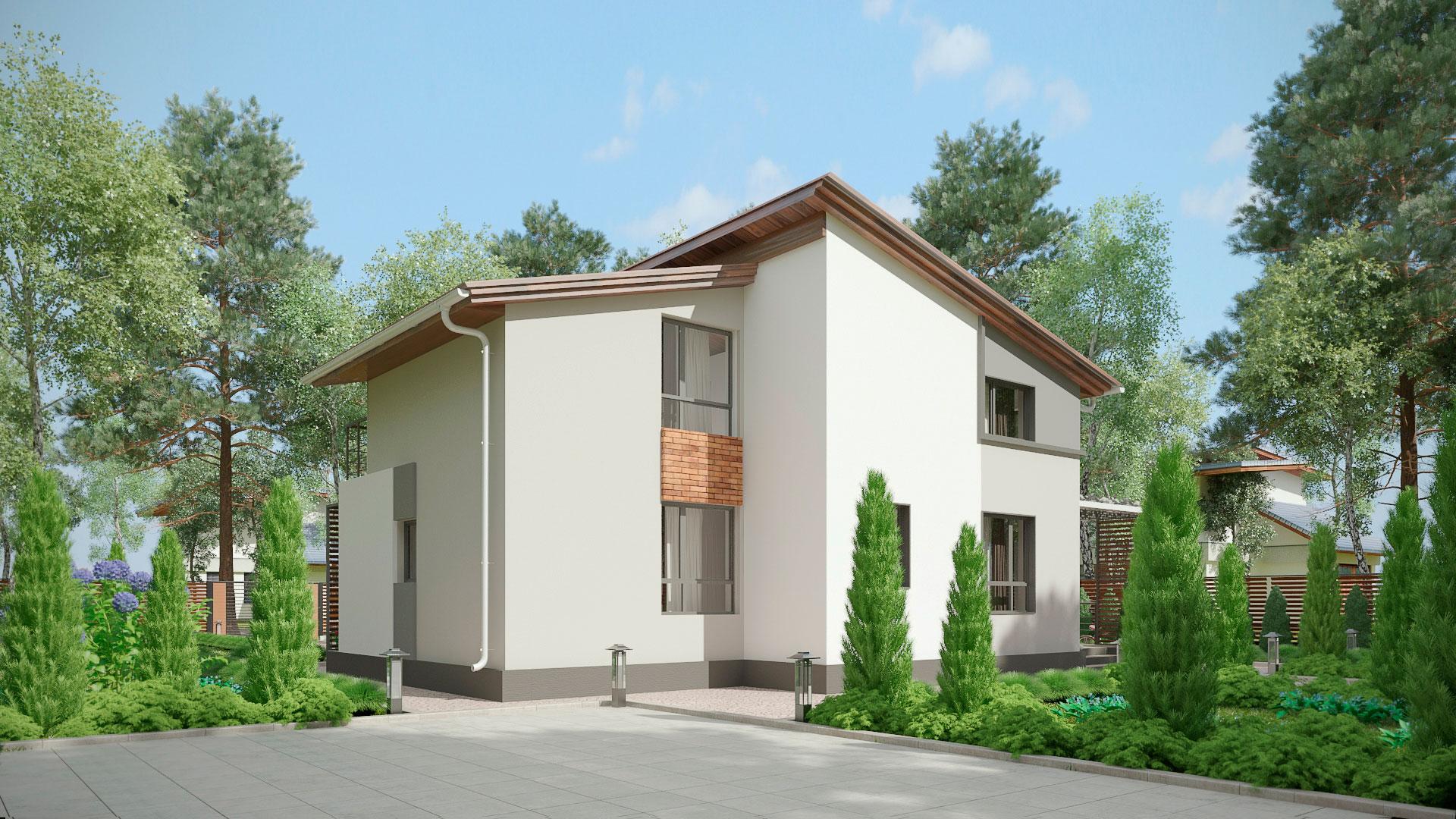Задний фасад двухэтажного дома с террасой и балконом, проект БЭНПАН МС-238.