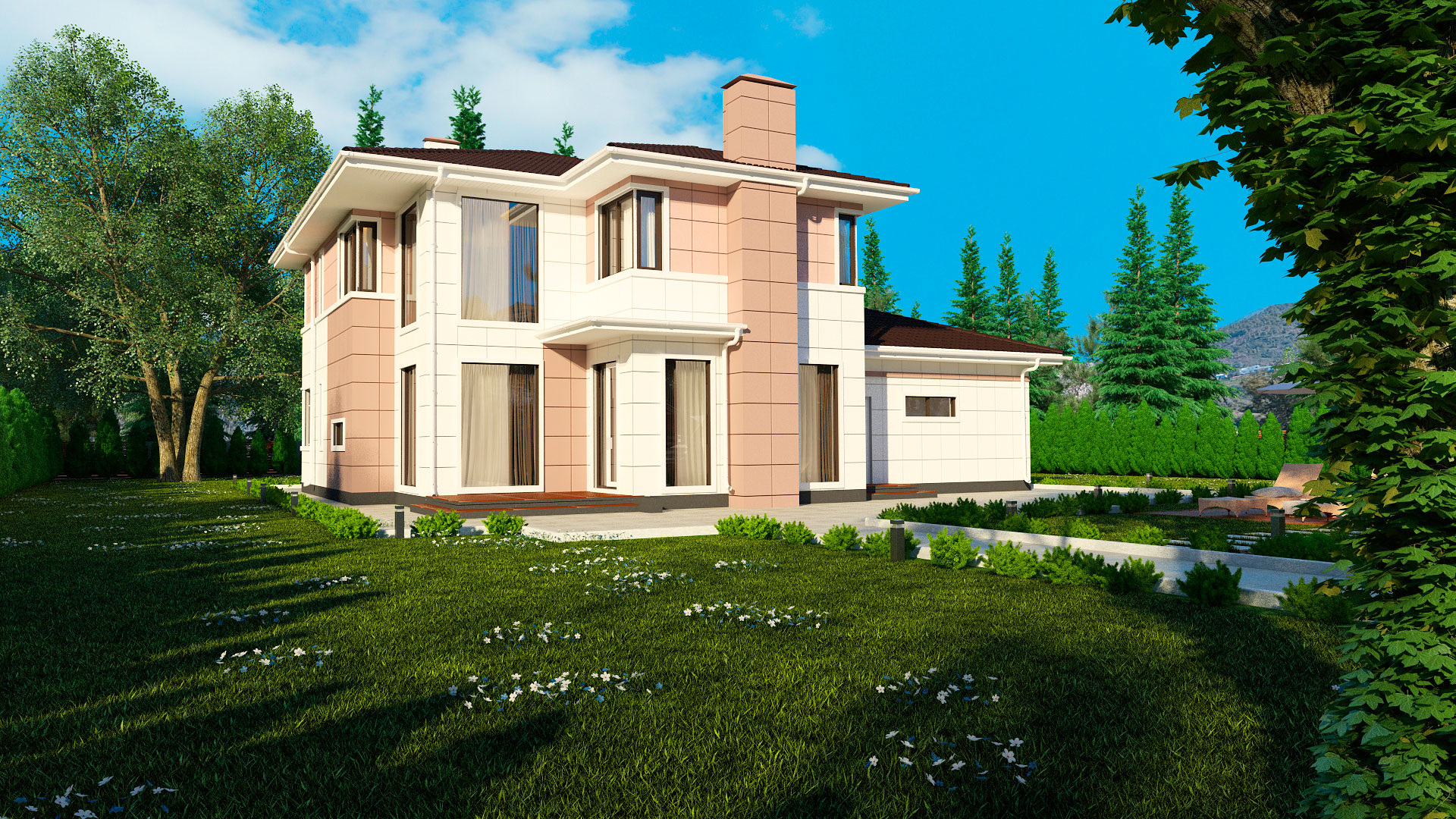 Задний фасад двухэтажного дома БЭНПАН, проект МС-239.