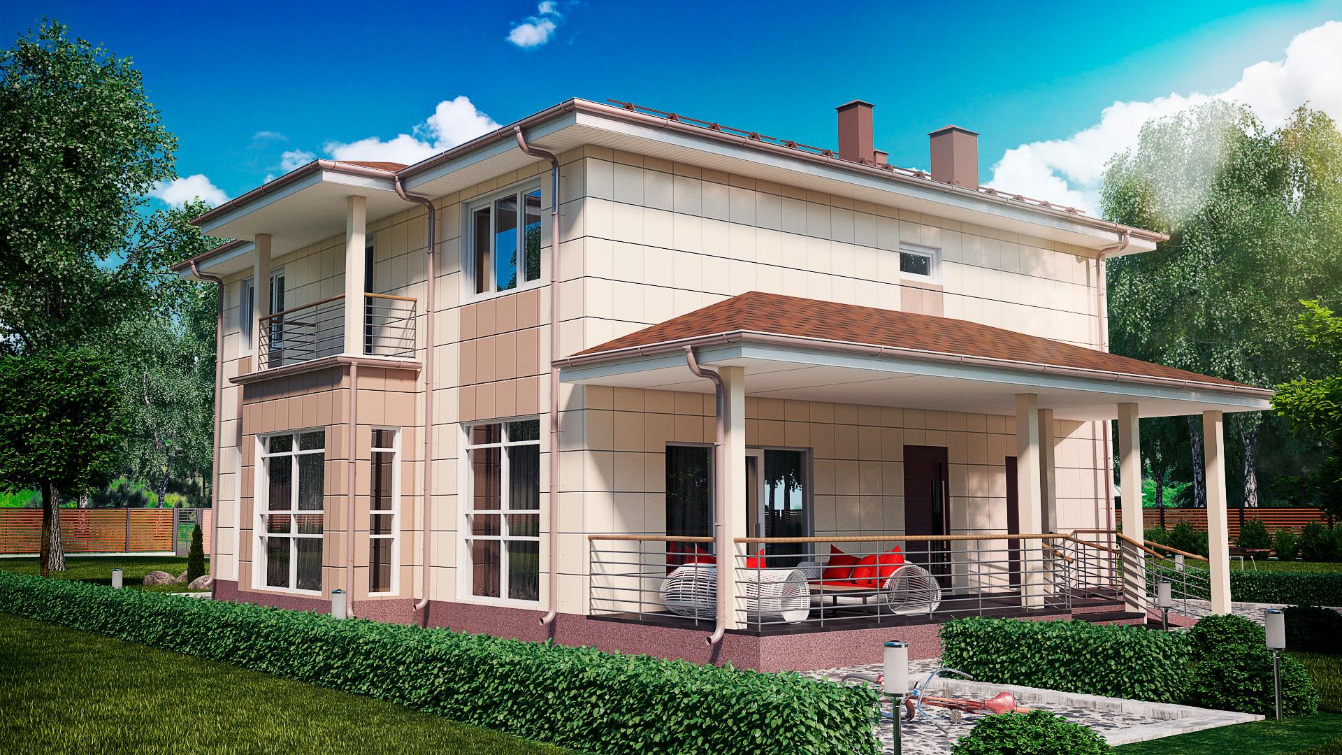Передний фасад загородного дома 12 на 12 двухэтажного, проект БЭНПАН МС-245.
