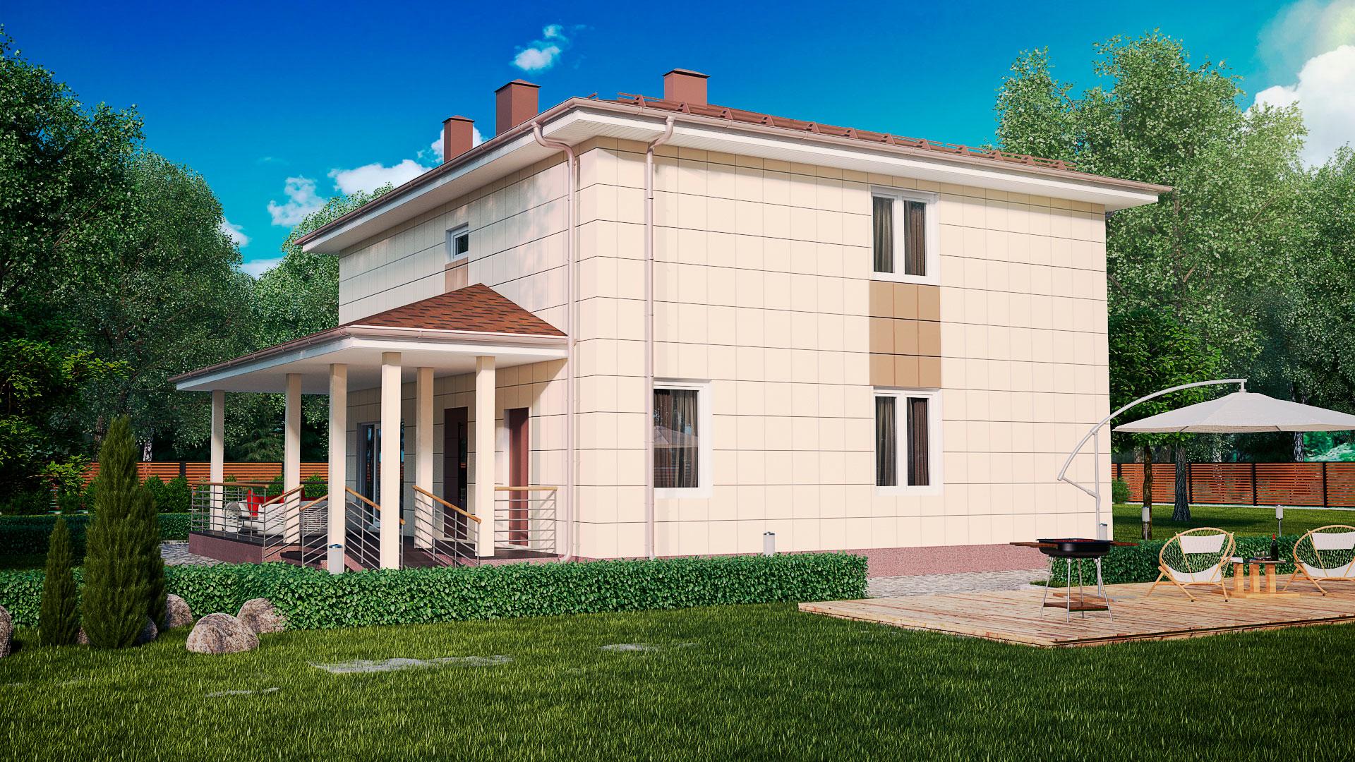 Боковой фасад загородного дома 12 на 12 двухэтажного, проект БЭНПАН МС-245.
