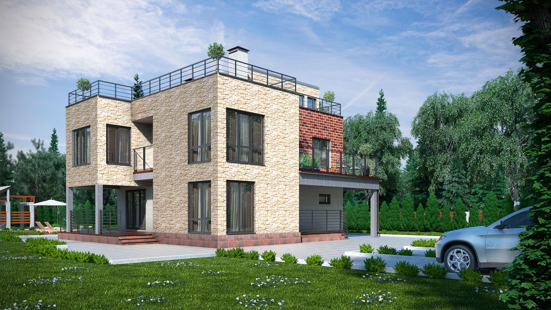Передний фасад двухэтажного дома с эксплуатируемой крышей, проект БЭНПАН МС-247.
