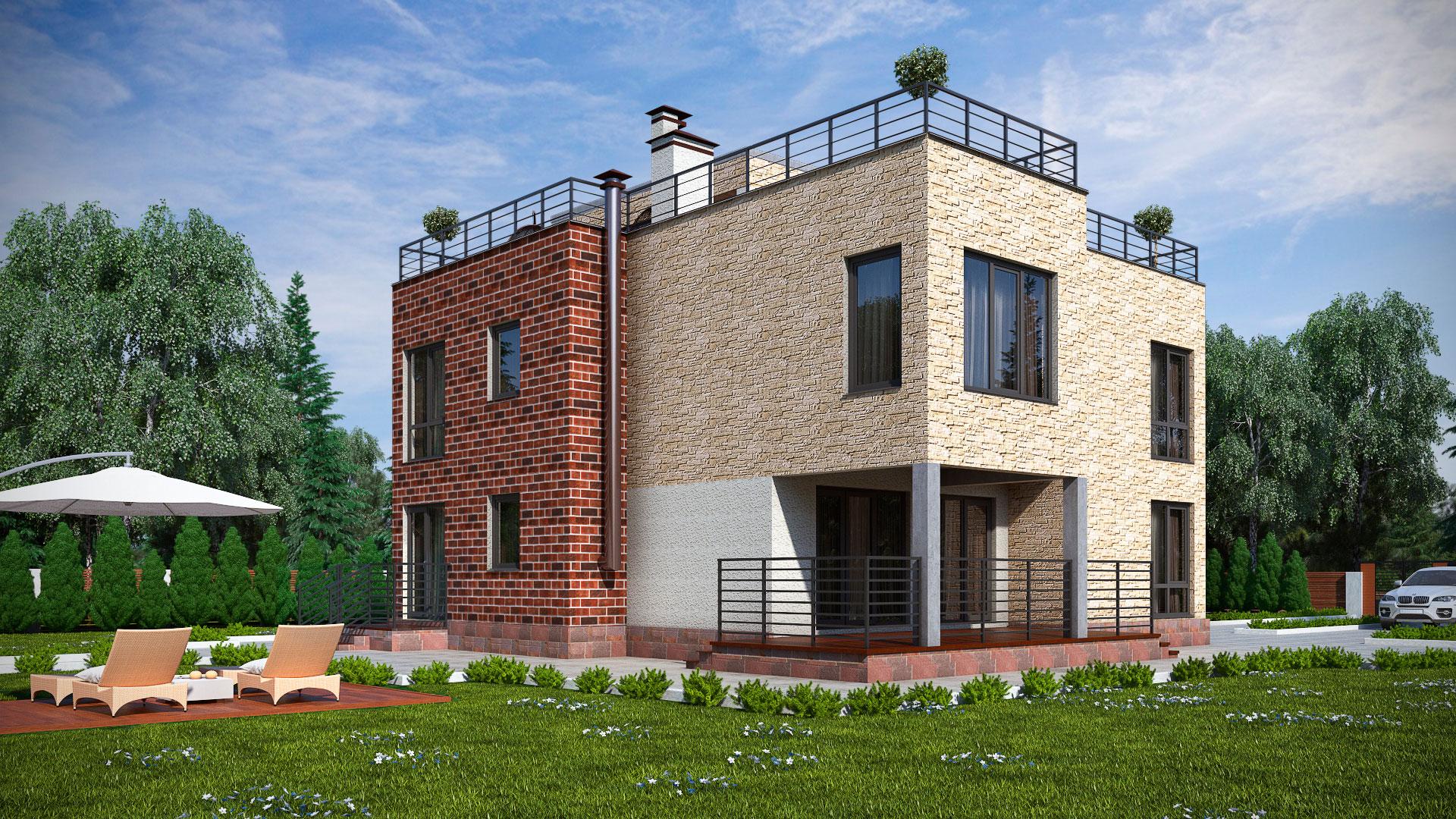 Боковой фасад двухэтажного дома с эксплуатируемой крышей, проект БЭНПАН МС-247.