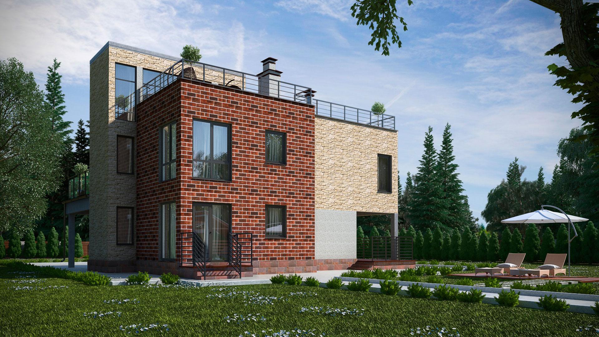 Задний фасад двухэтажного дома с эксплуатируемой крышей, проект БЭНПАН МС-247.