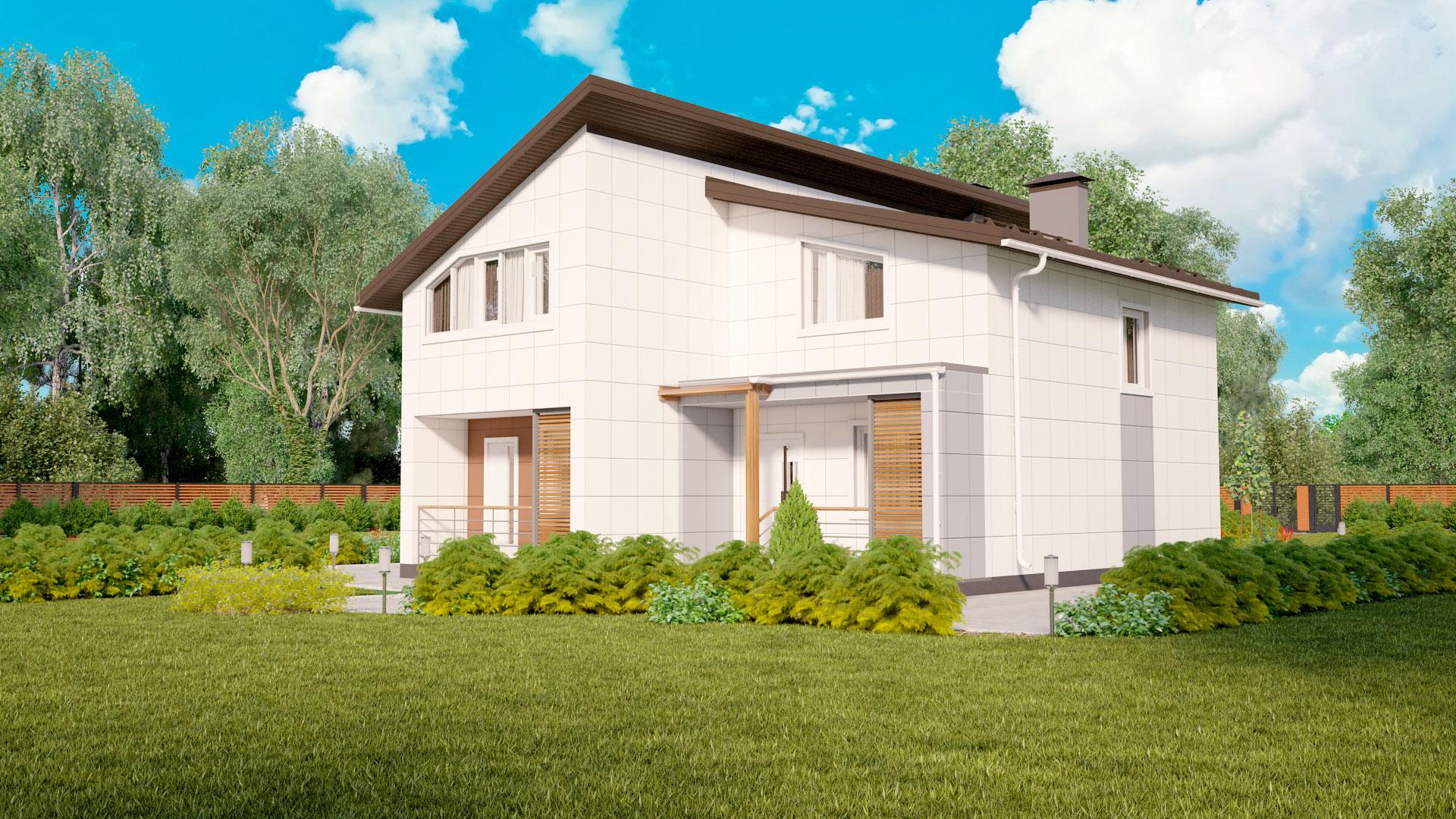 Фасад двухэтажного загородного дома БЭНПАН, проект МС-253/1.