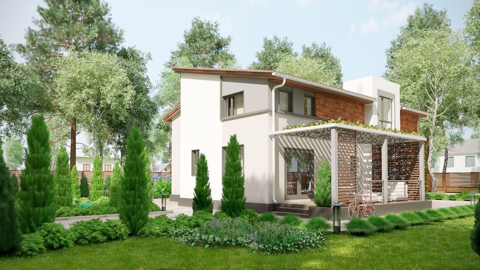 Боковой фасад двухэтажного коттеджа БЭНПАН, проект МС-253.