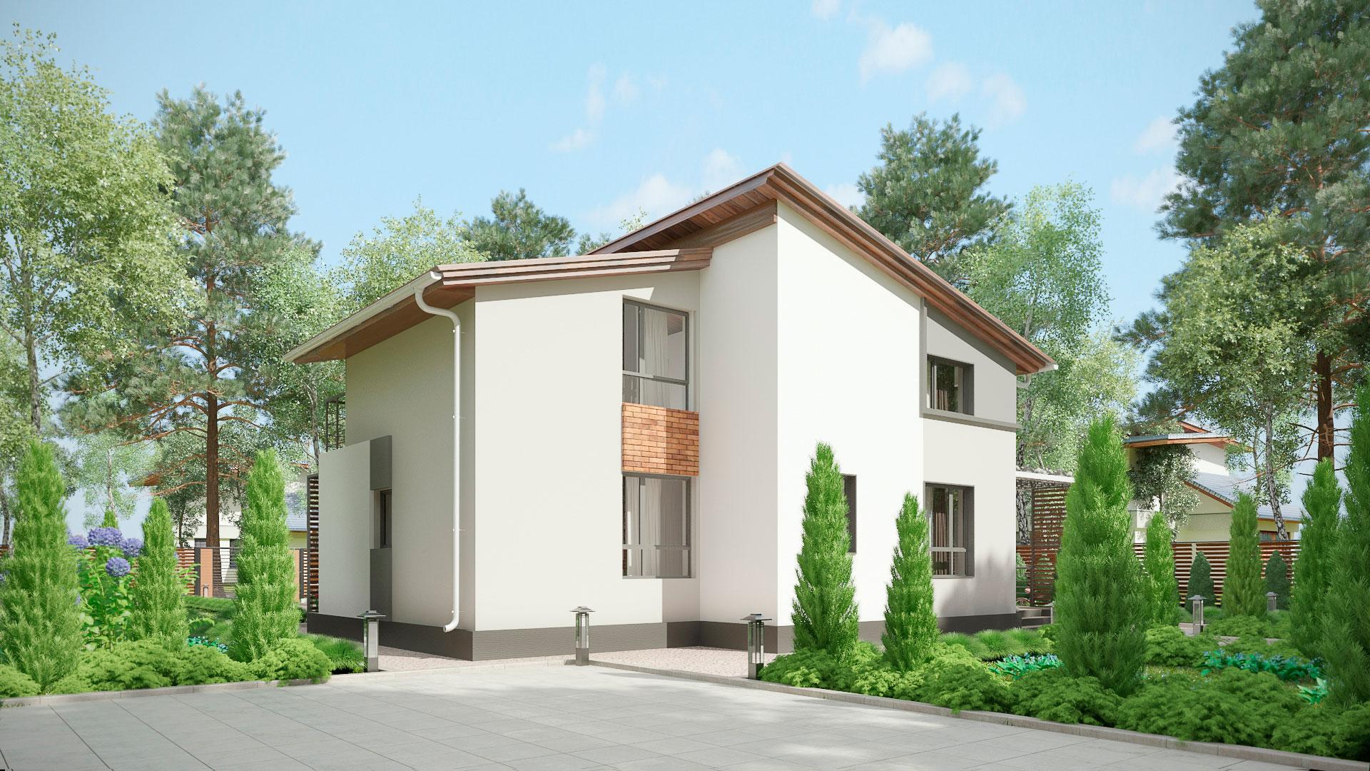 Задний фасад двухэтажного коттеджа БЭНПАН, проект МС-253.