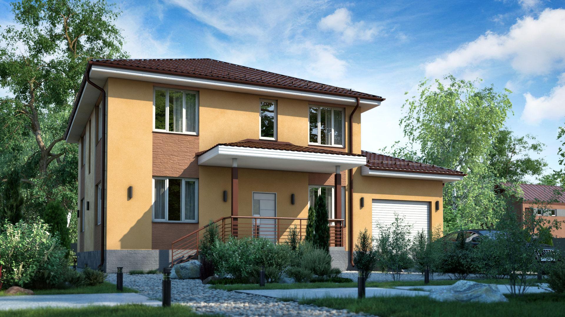 Передний фасад двухэтажного загородного дома БЭНПАН, проект МС-255.