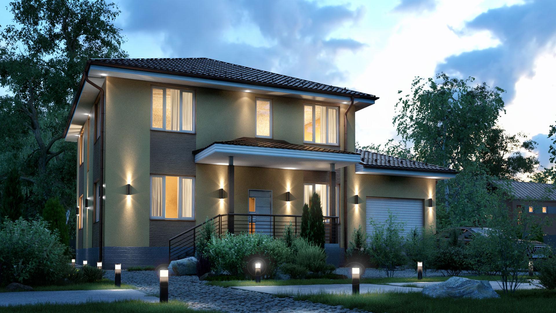 Вечернее фото двухэтажного загородного дома БЭНПАН, проект МС-255.