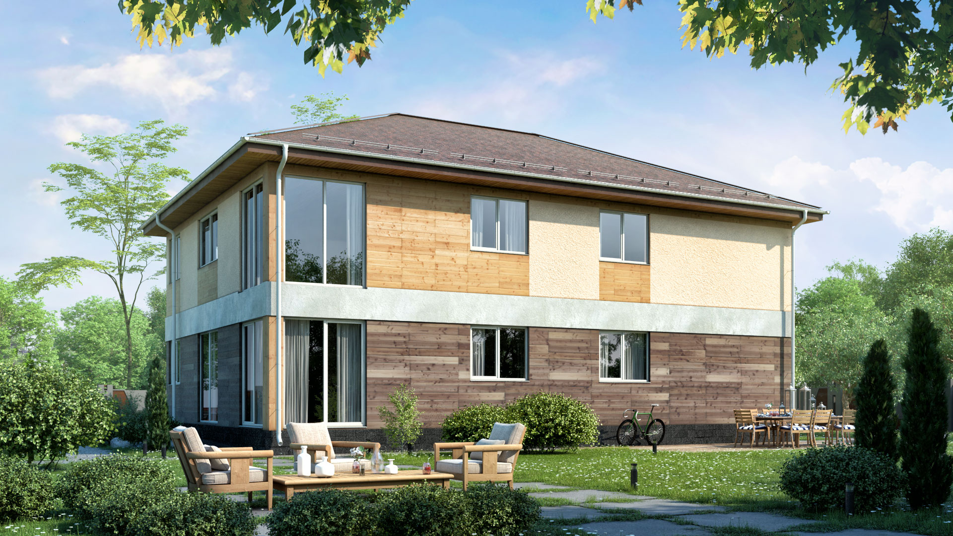 фото домов с балконами полфасада участок расположен динамично