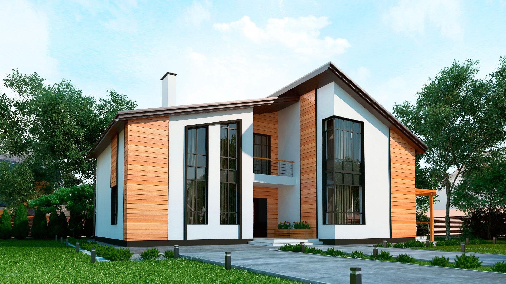 Передний фасад двухэтажного шестикомнатного дома с террасой и балконом, проект БЭНПАН МС-296.