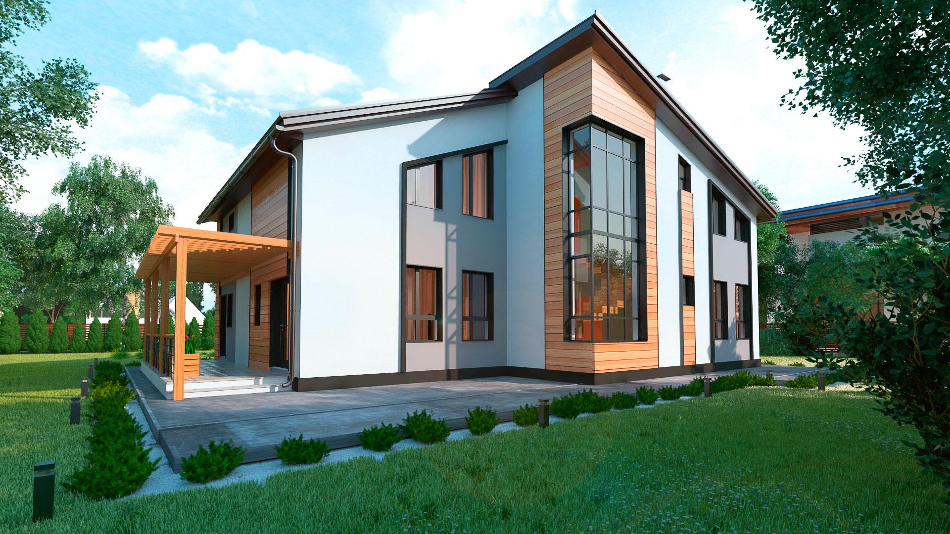 Боковой фасад двухэтажного шестикомнатного дома с террасой и балконом, проект БЭНПАН МС-296.