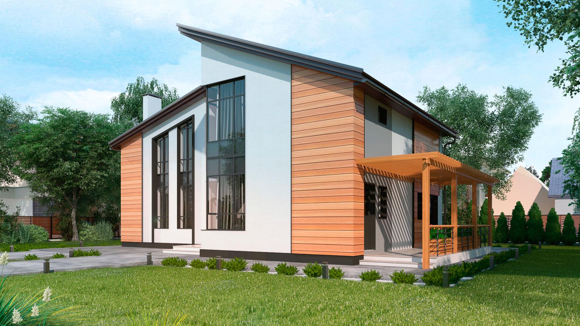 Задний фасад двухэтажного шестикомнатного дома с террасой и балконом, проект БЭНПАН МС-296.