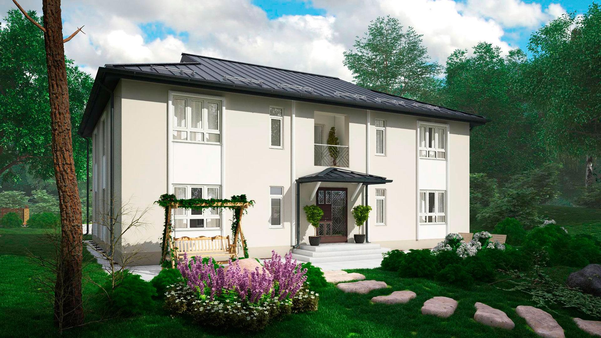 Передний фасад МС-346 - проекта дома на 4 квартиры, двухэтажного, 342,14 м2.