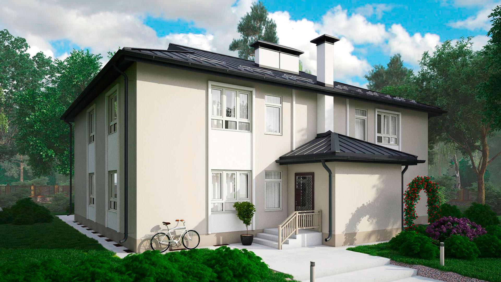 Боковой фасад МС-346 - проекта дома на 4 квартиры, двухэтажного, 342,14 м2.