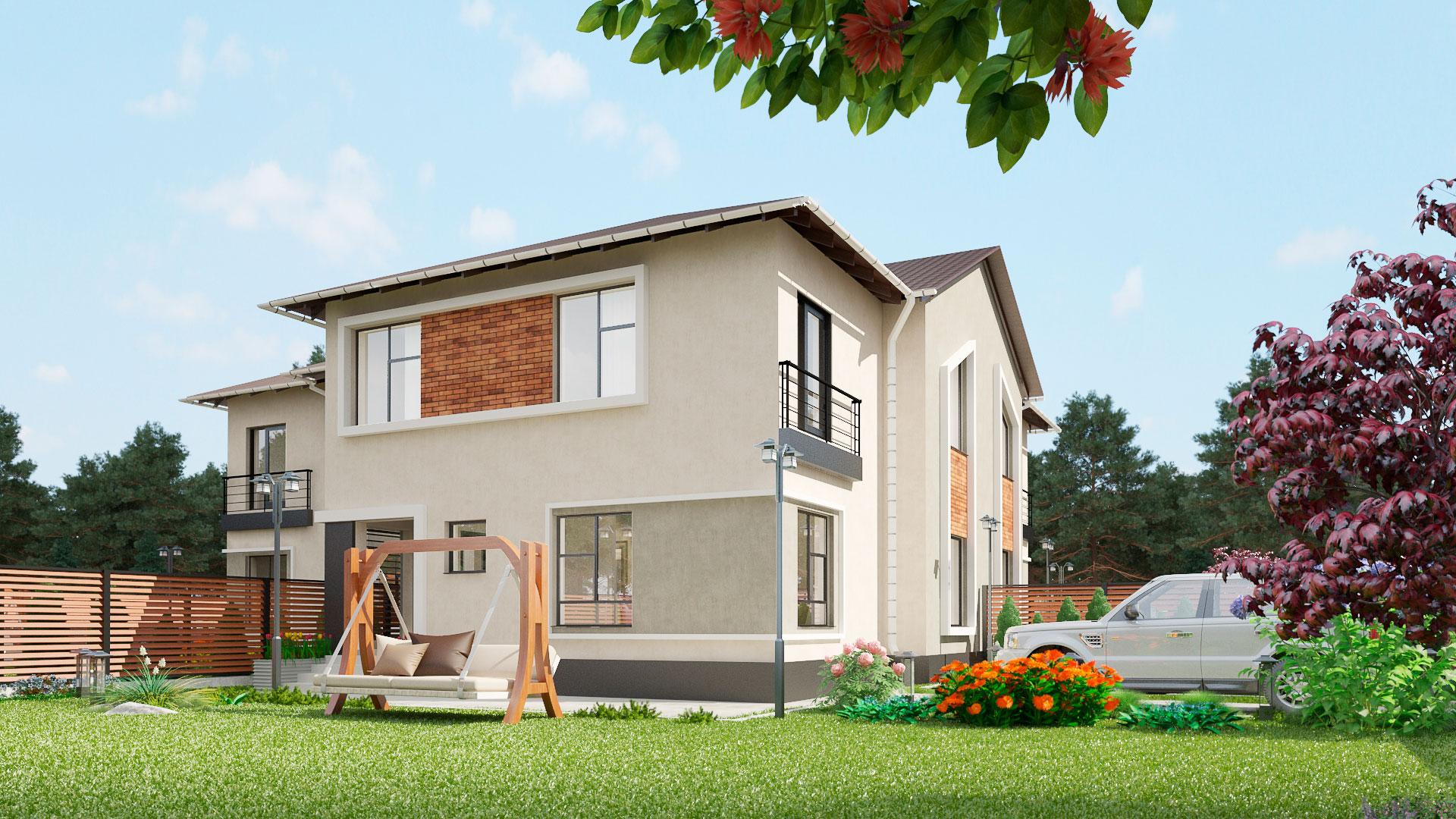 Двухэтажный дом на три семьи 362,10 м2. Проект МС-472.