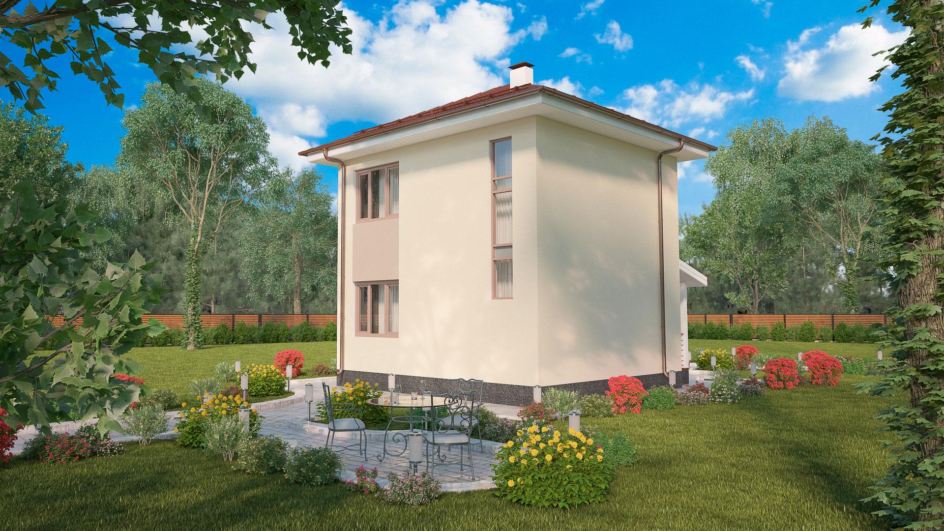 Боковой фасад двухэтажного дома БЭНПАН, проект МС-69.