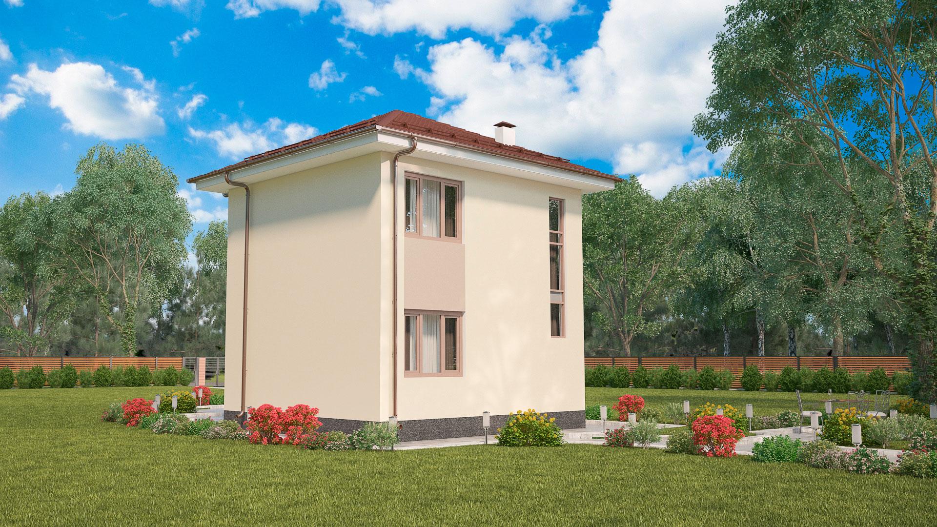 Задний фасад двухэтажного дома БЭНПАН, проект МС-69.