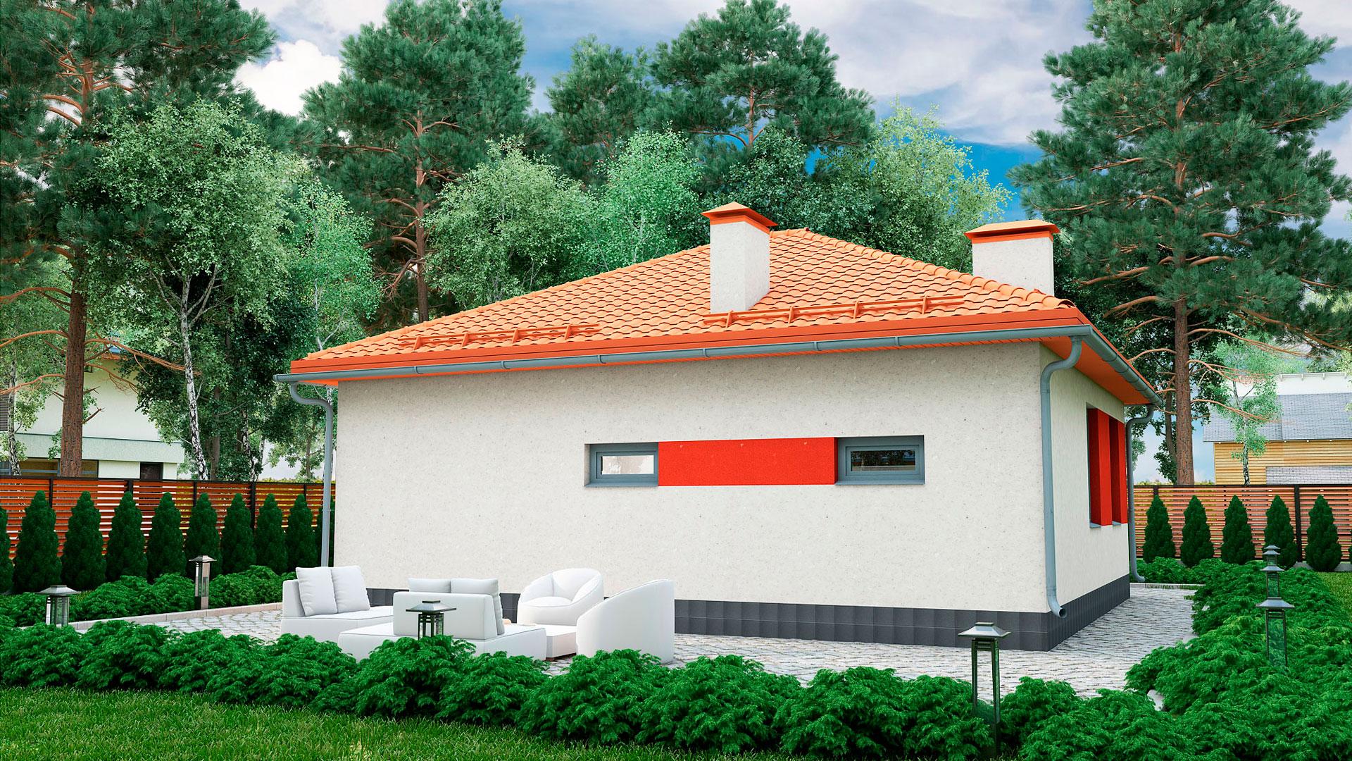 Задний фасад одноэтажного загородного дома БЭНПАН, проект МС-72.