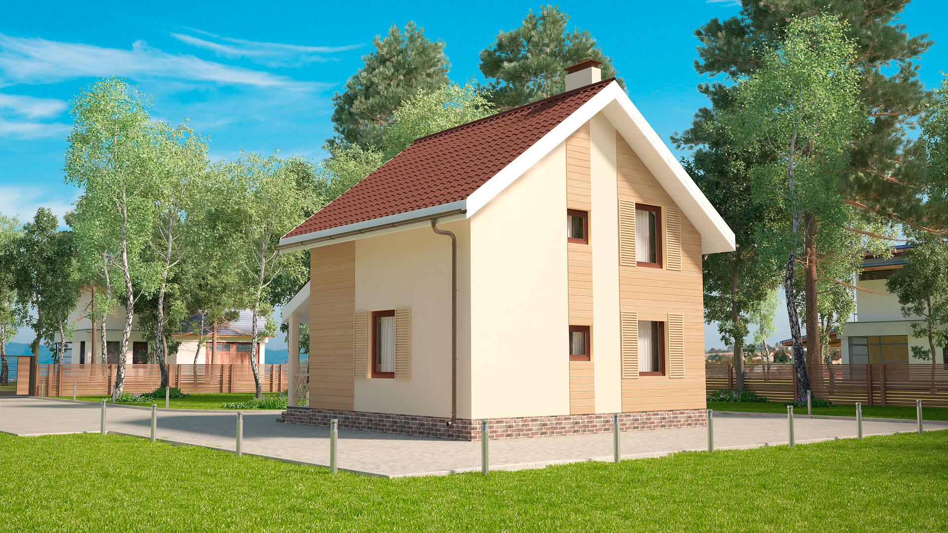 Задний фасад двухэтажного дома, проект БЭНПАН МС-89.
