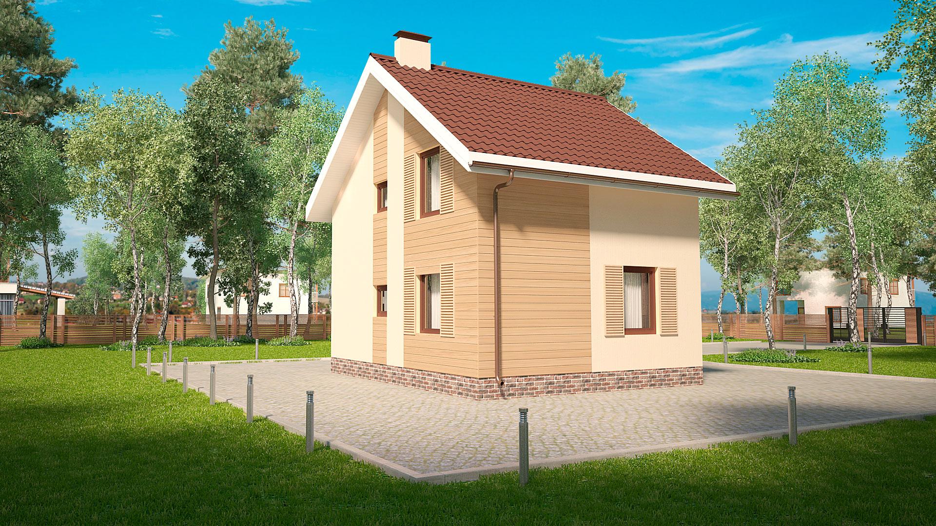 Боковой фасад двухэтажного дома, проект БЭНПАН МС-89.