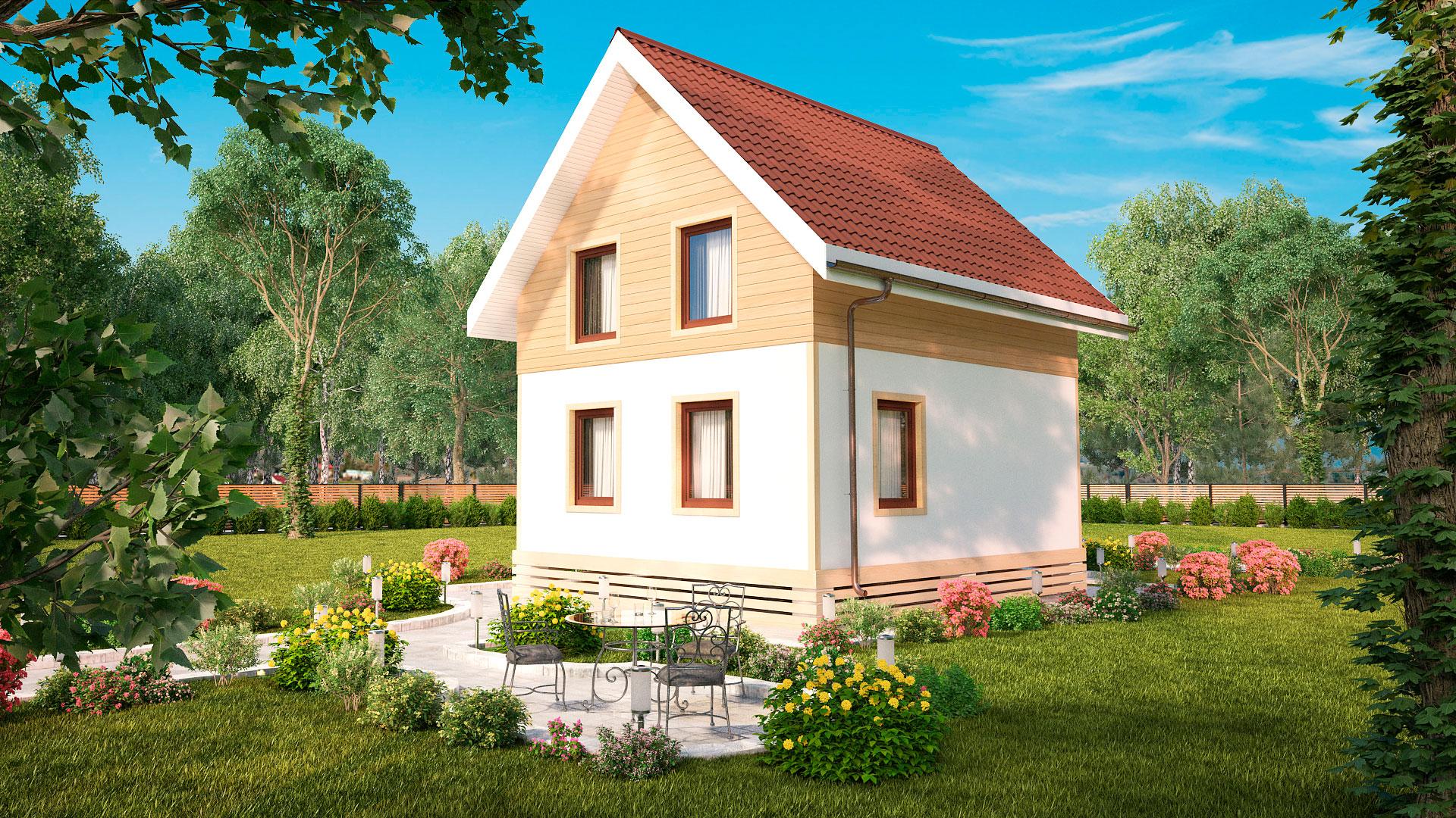 Задний фасад небольшого двухэтажного дома, проект БЭНПАН МС-92.