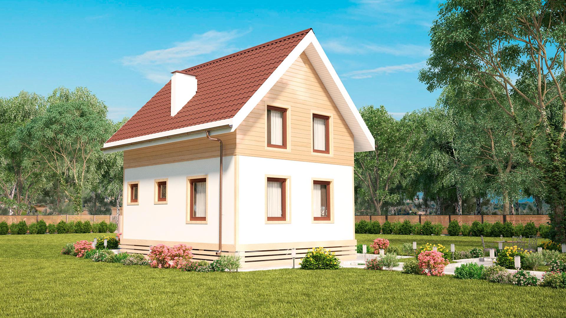 Задний и боковой фасады небольшого двухэтажного дома, проект БЭНПАН МС-92.