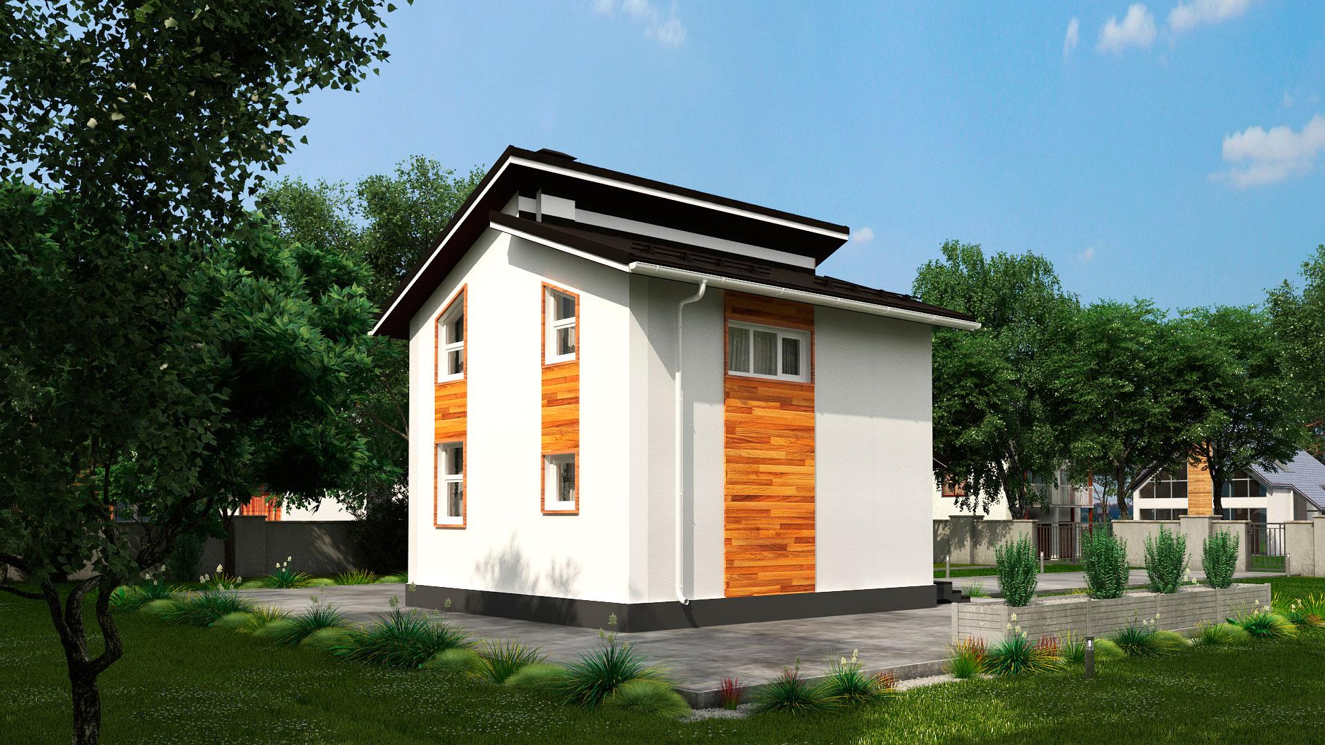 Боковой фасад двухэтажного дома 6 на 7 двухэтажного, проект БЭНПАН МС-95/1.