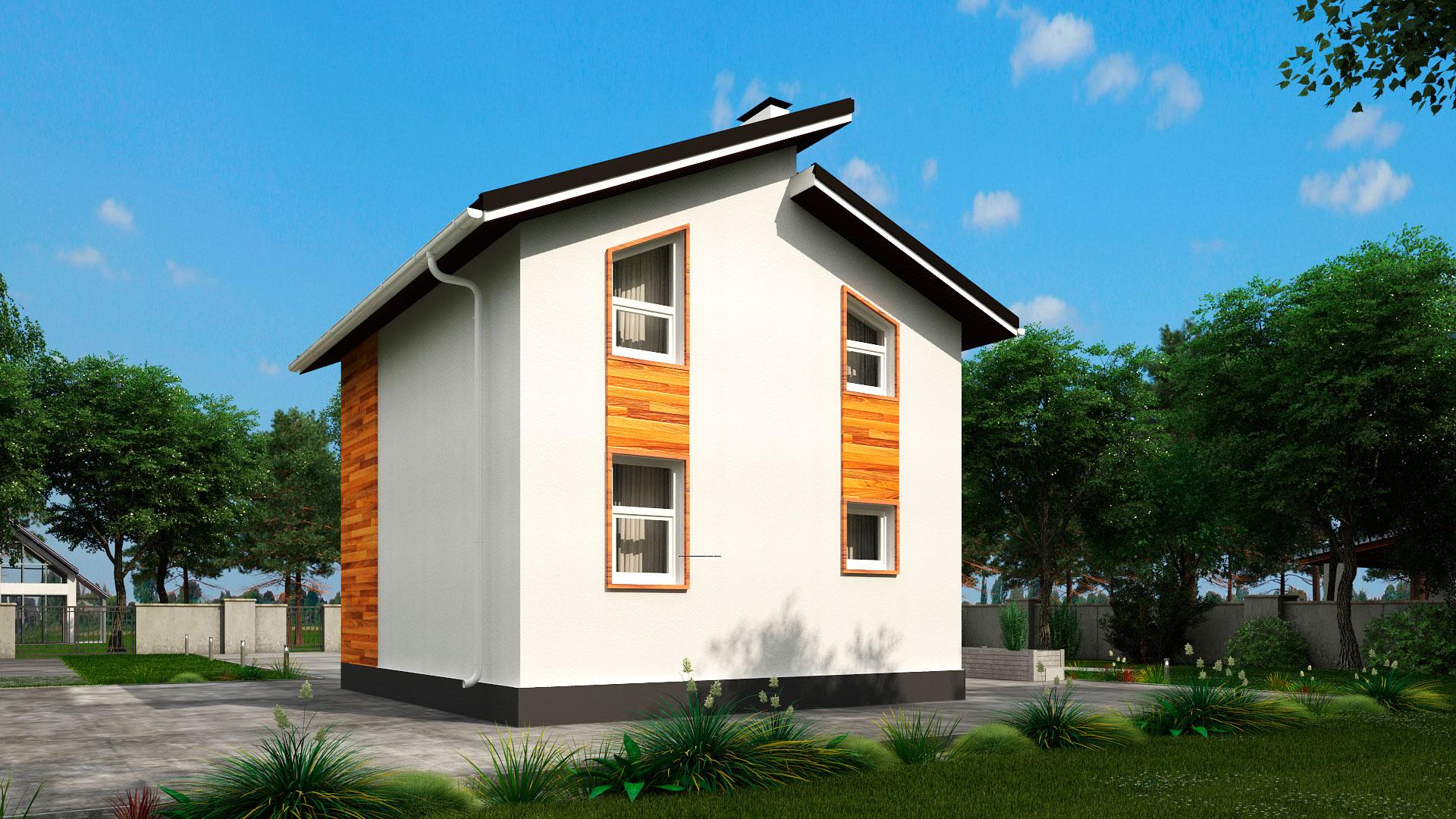 Задний фасад двухэтажного дома 6 на 7 двухэтажного, проект БЭНПАН МС-95/1.