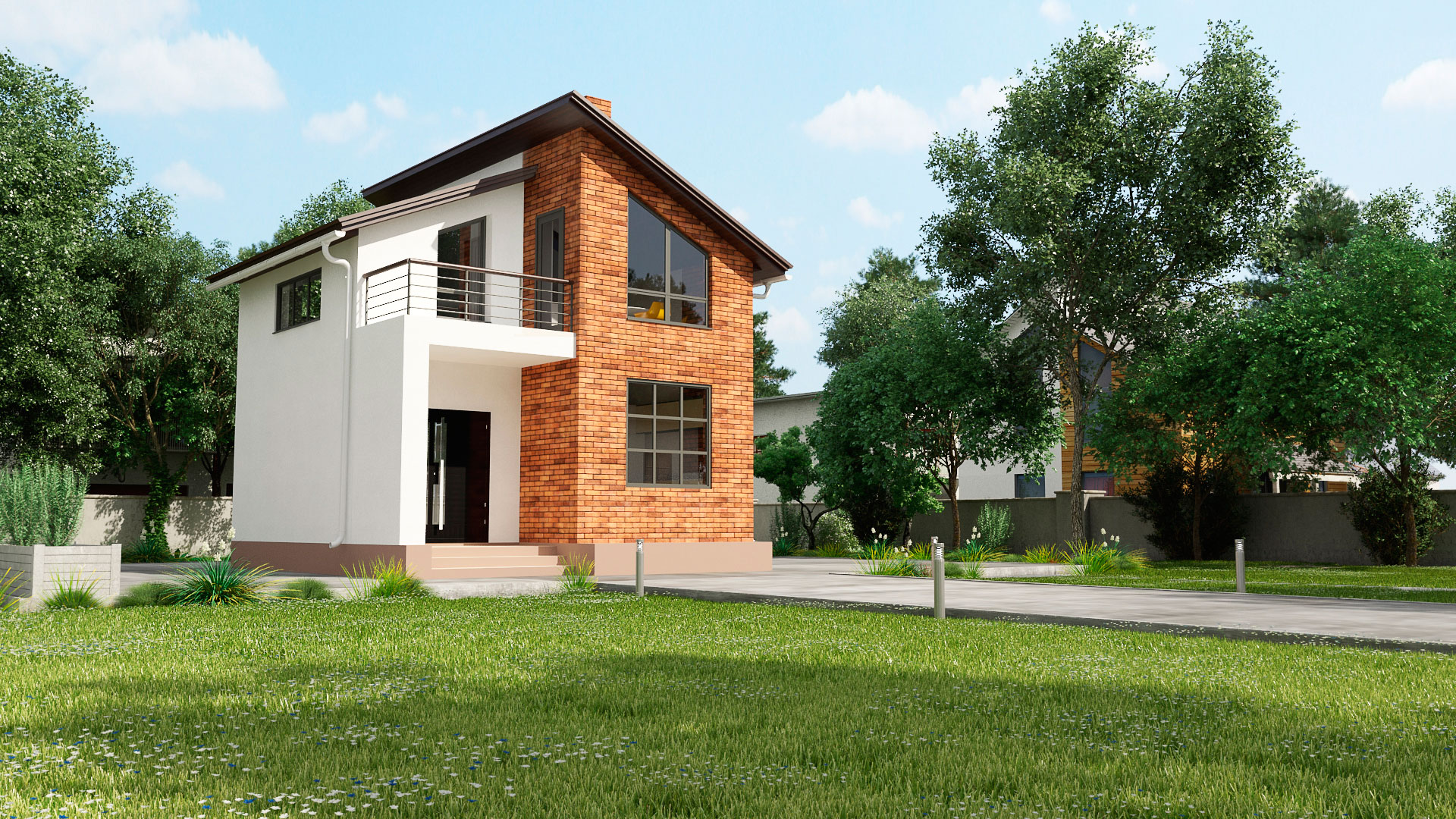 Передний фасад двухэтажного загородного дома с двумя спальнями и балконом, проект БЭНПАН МС-95.