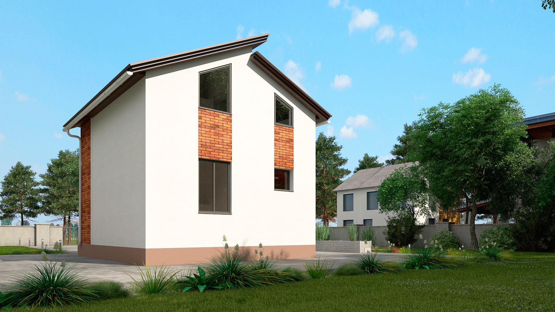 Задний фасад двухэтажного загородного дома с двумя спальнями и балконом, проект БЭНПАН МС-95.