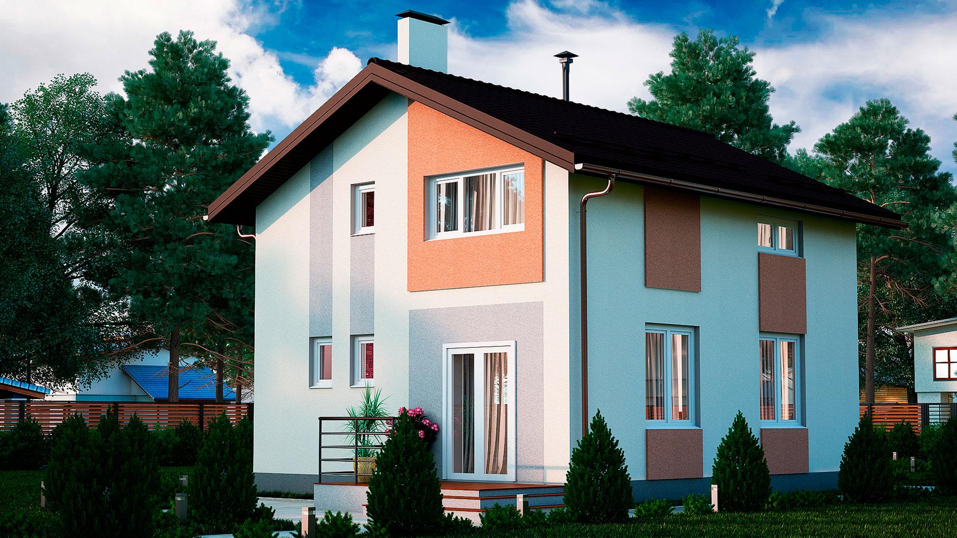 Задний фасад двухэтажного дома, проект БЭНПАН МС-97.