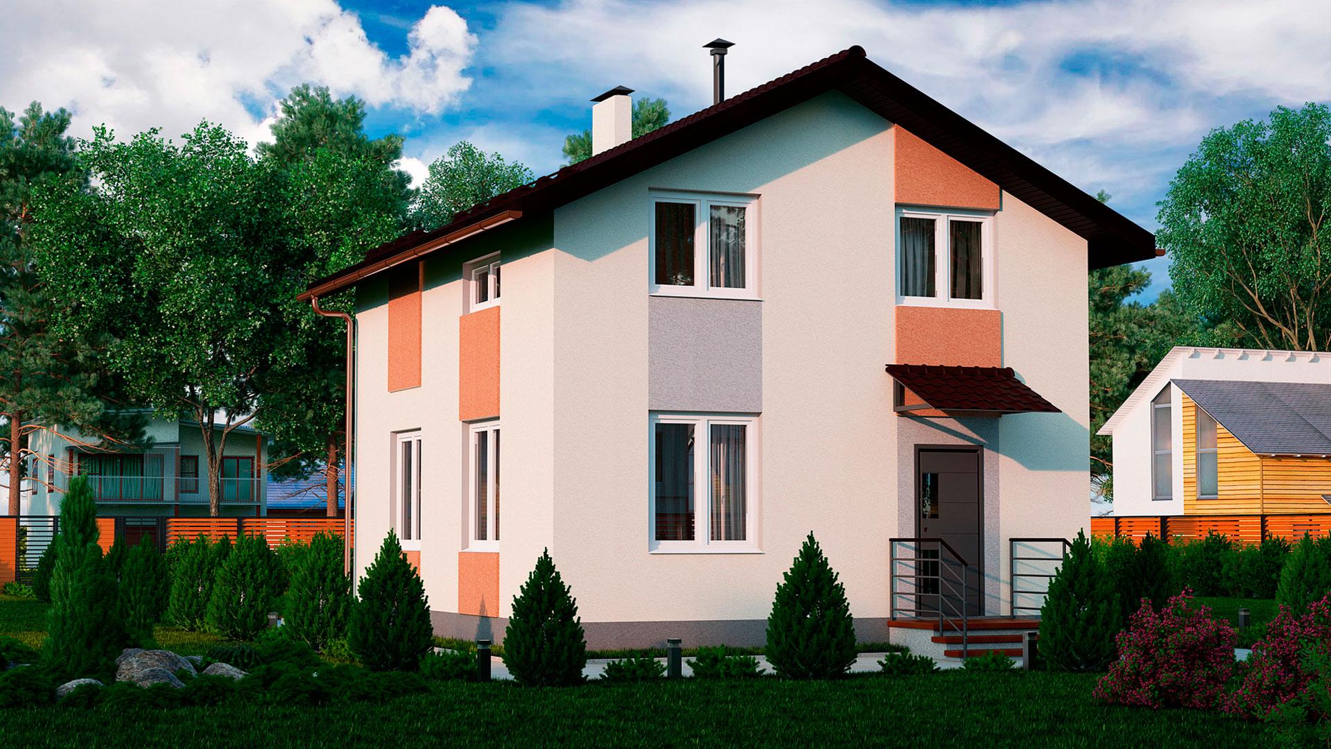 Передний фасад двухэтажного дома, проект БЭНПАН МС-97.