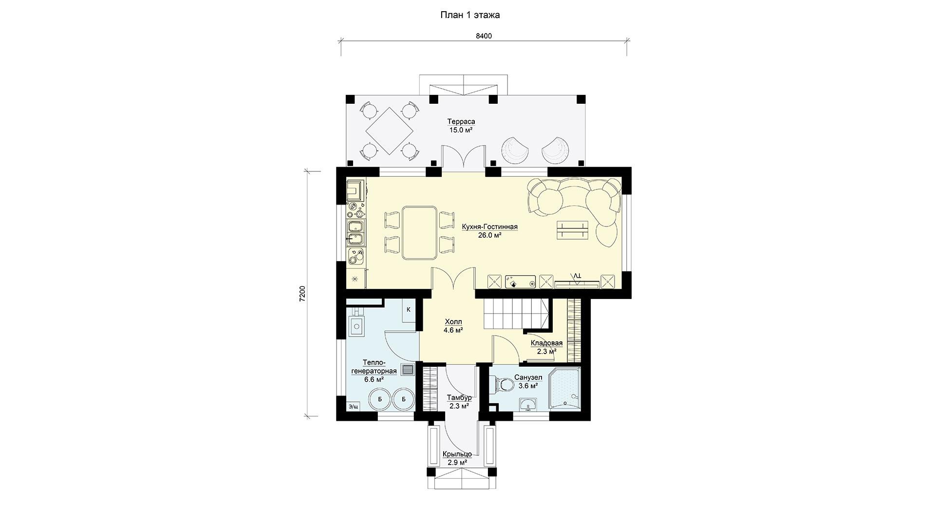 План первого этажа двухэтажного дома БЭНПАН, проект БП-112.
