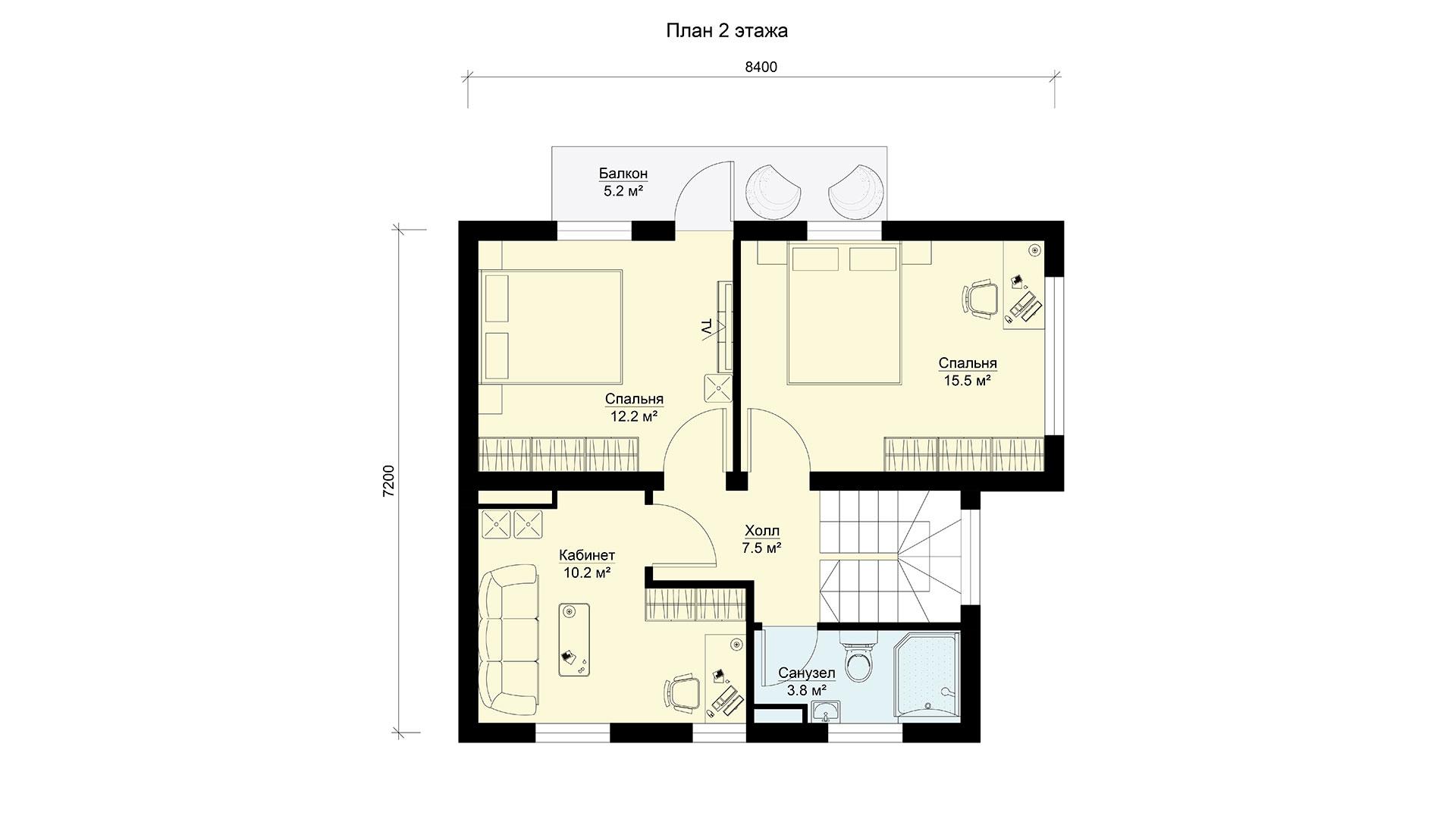 План второго этажа двухэтажного дома БЭНПАН, проект БП-112.