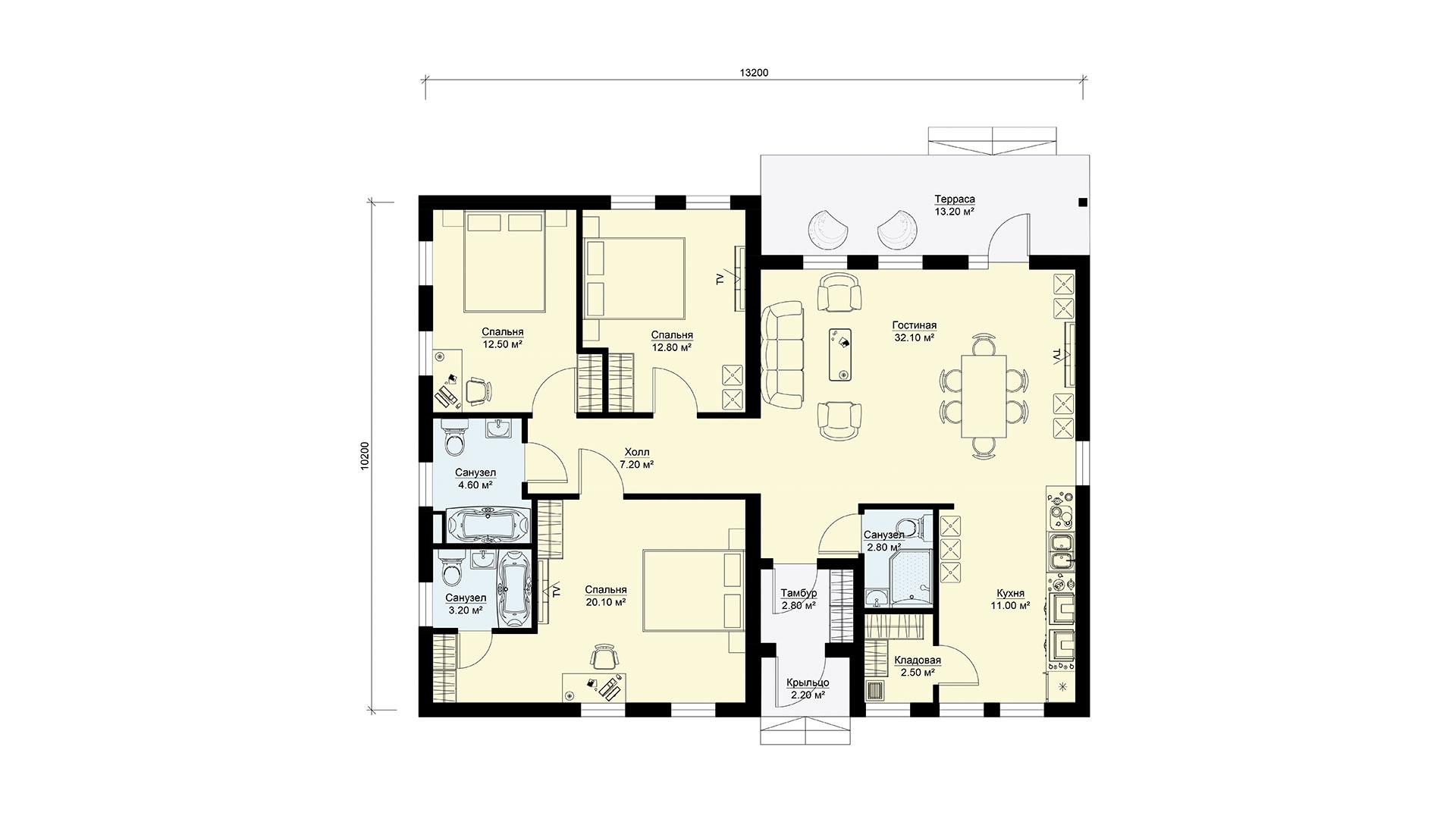 Планировка одноэтажного дачного дома БЭНПАН. Проект БП-127.