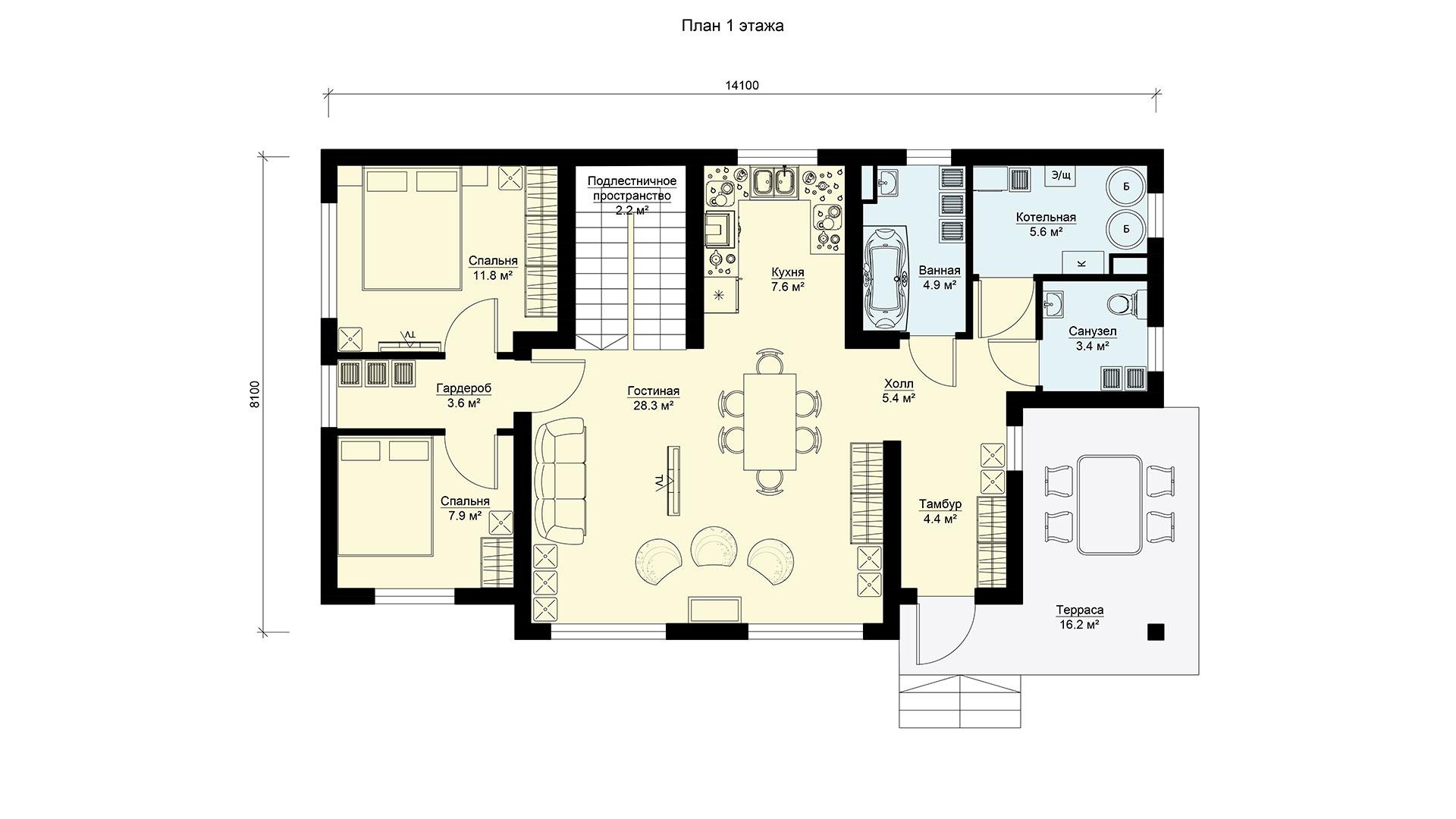 Планировка первого этажа проекта дачного дома БП-143.