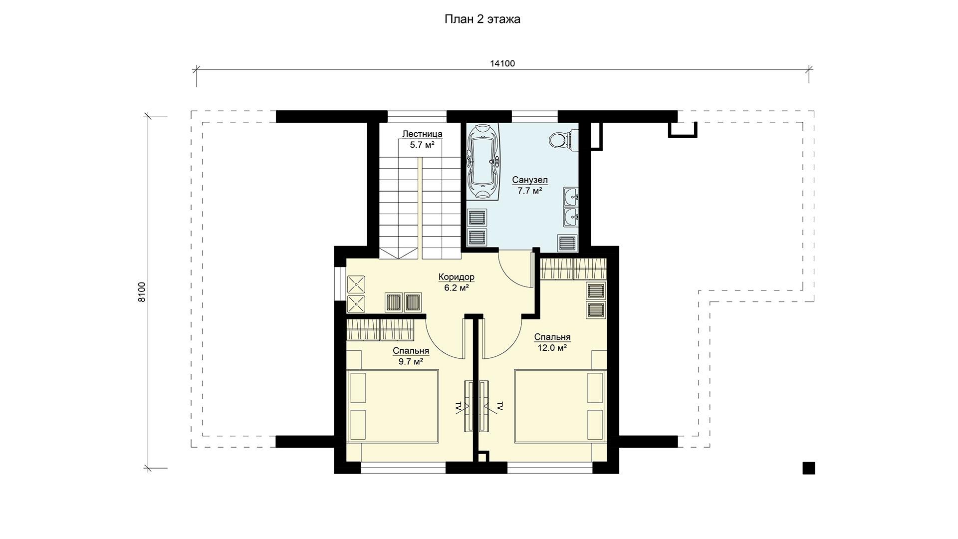 Планировка второго этажа проекта дачного дома БП-143.